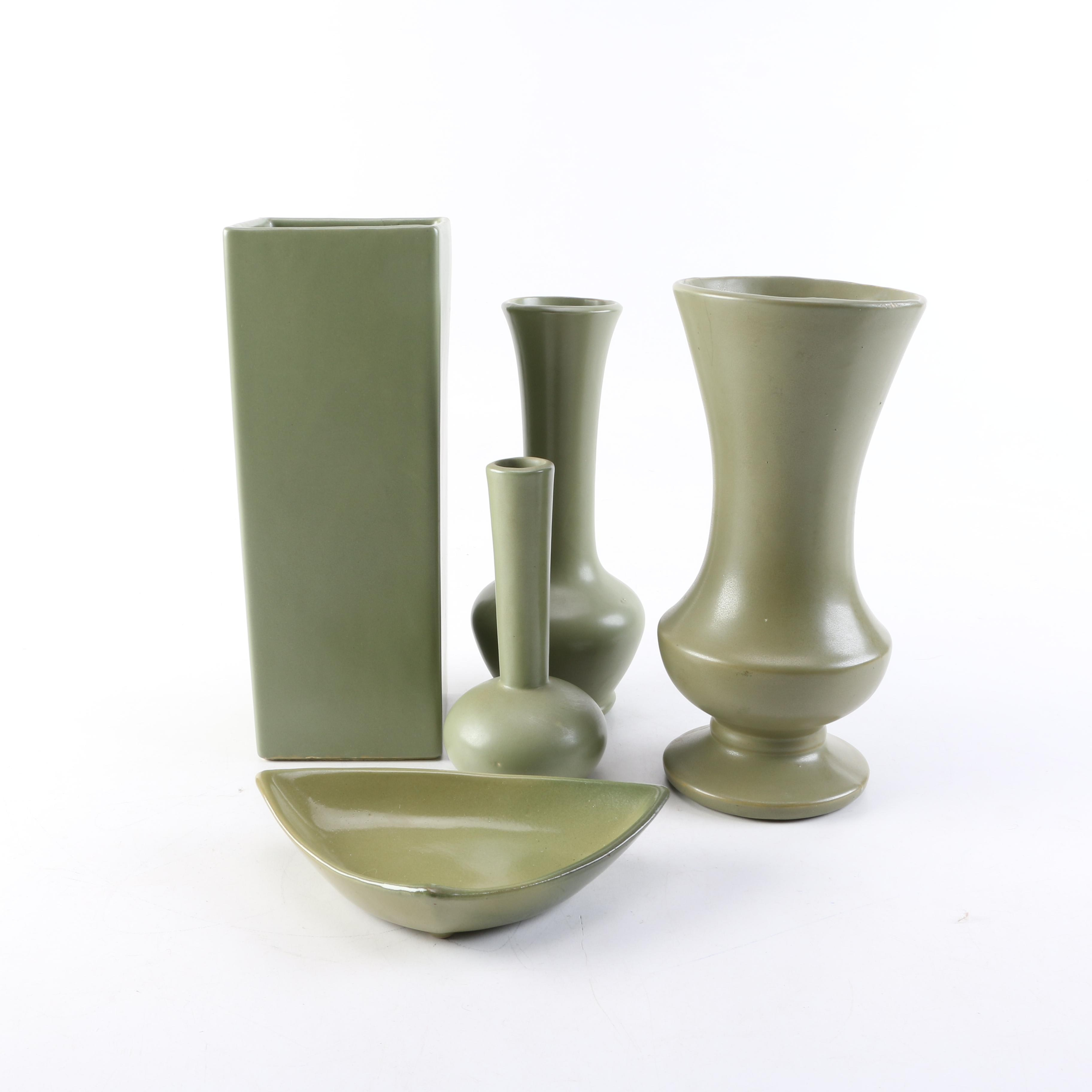 "Green Ceramic Decor Including McCoy ""Floraline"" Pottery"