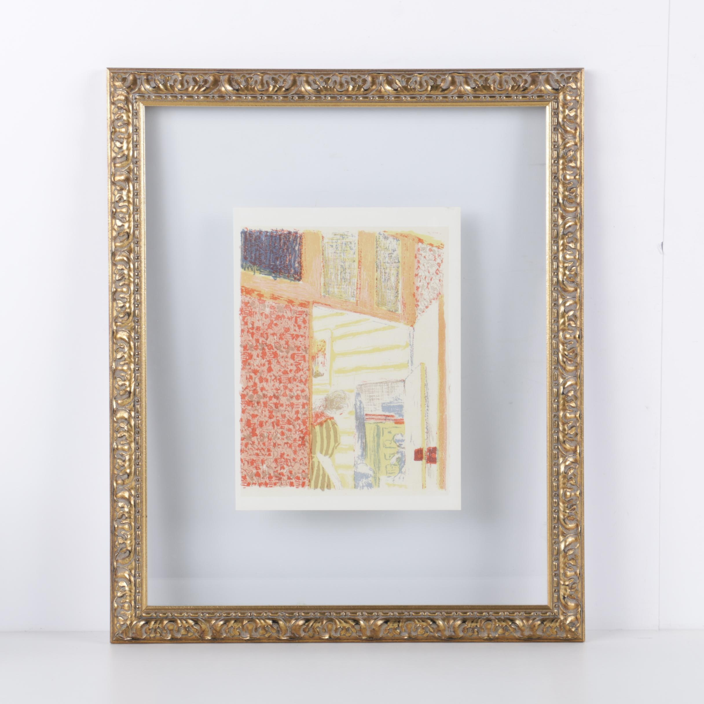 "After Edouard Vuillard Color Lithograph ""Interior with Pink Wallpaper II"""