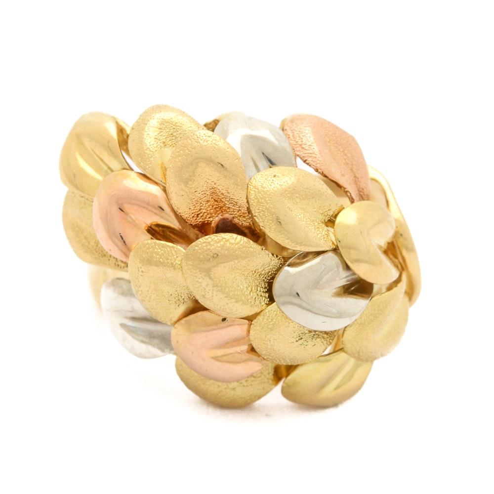18K Tri-Tone Gold Leaf Cluster Ring