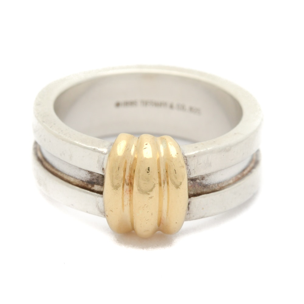 Sterling Silver Tiffany & Co. Grooved Band with 18K Yellow Gold Accents