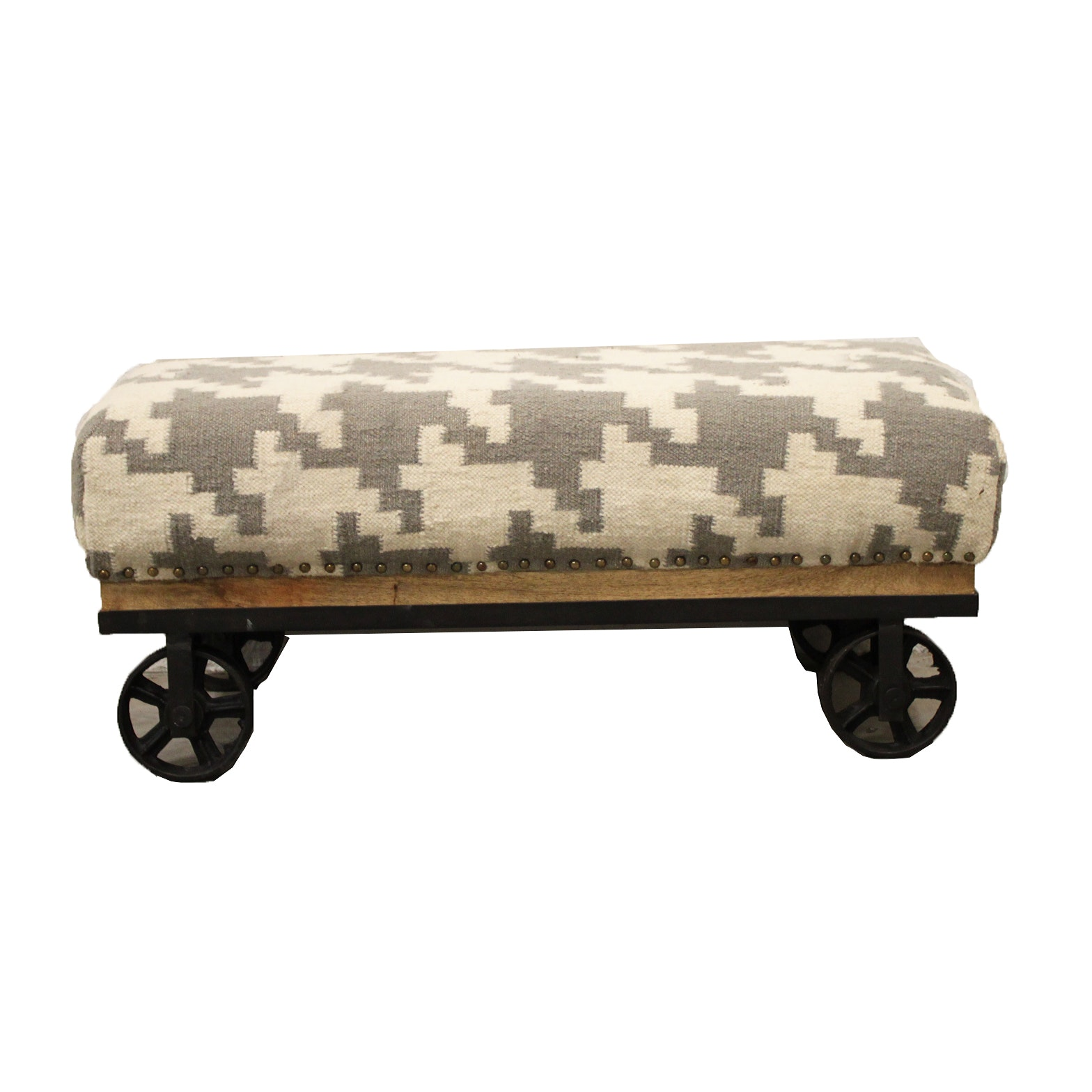 Industrial Style Rolling Ottoman with Wool Blend Upholstery