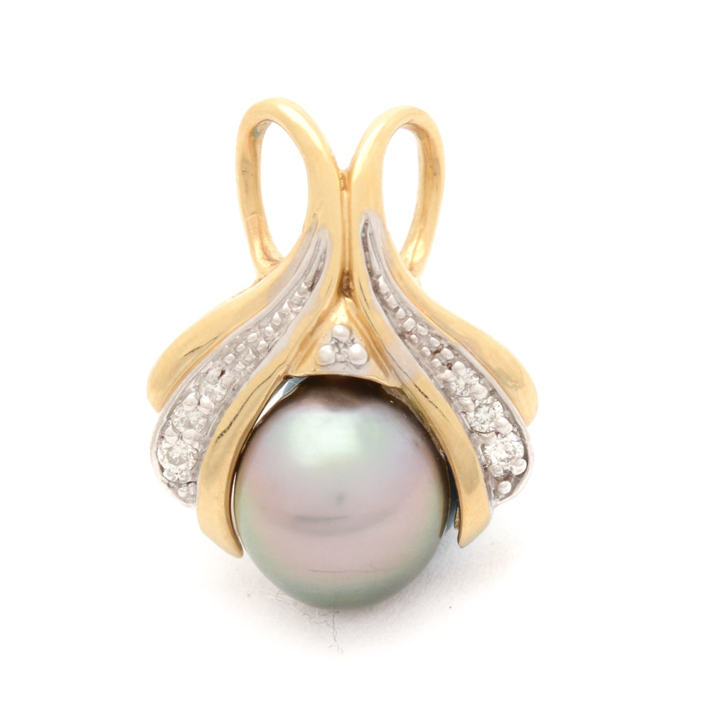 14K Gold Pendant with Tahitian Pearl and Diamonds