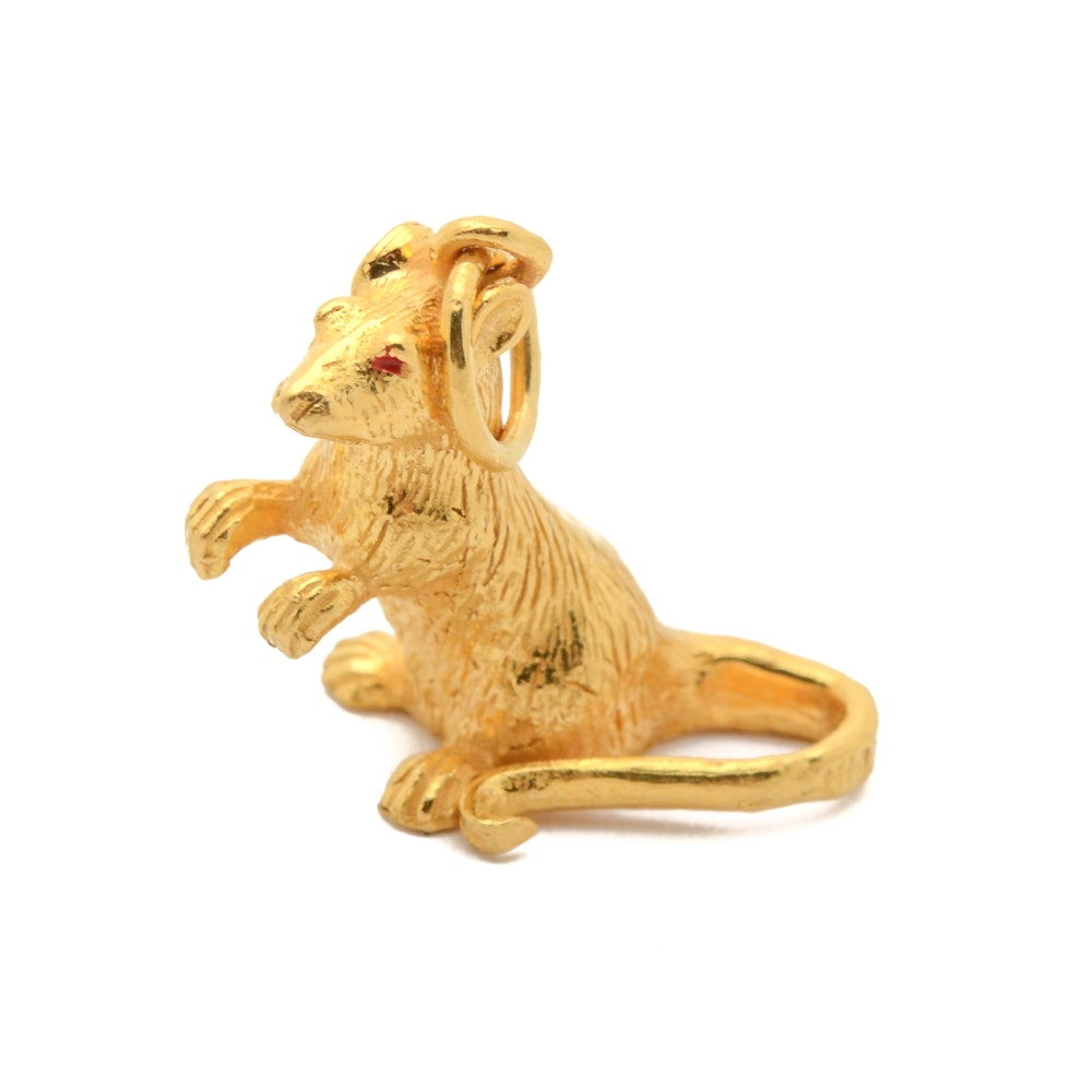22K Gold Mouse Charm