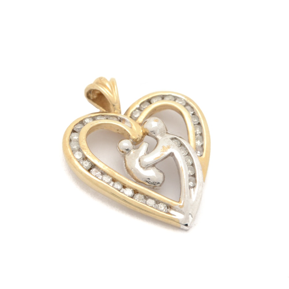 10K Two-Tone Gold Heart Diamond Pendant With Mother and Child