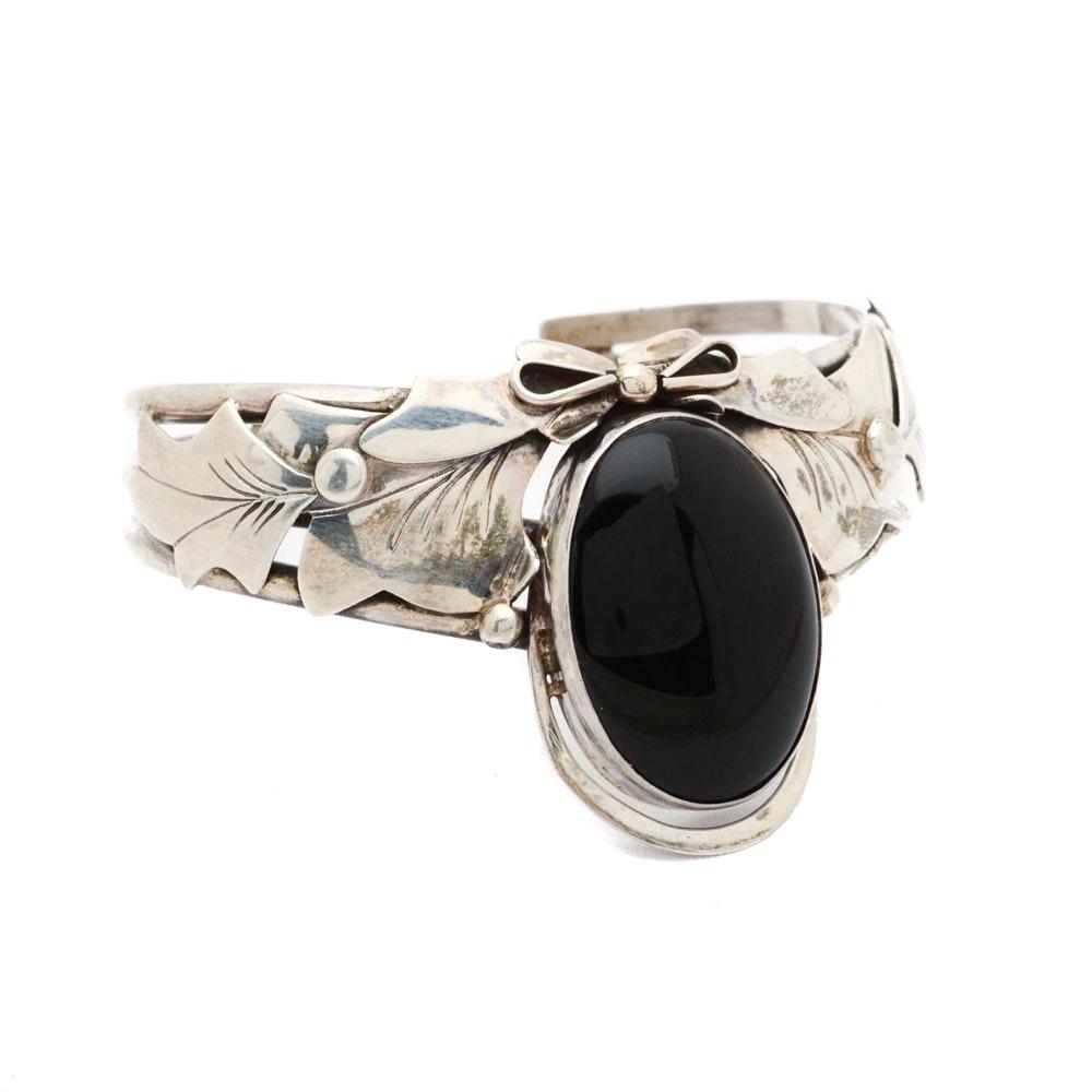 Vintage Nakai Signed Sterling Silver and Black Onyx Bracelet