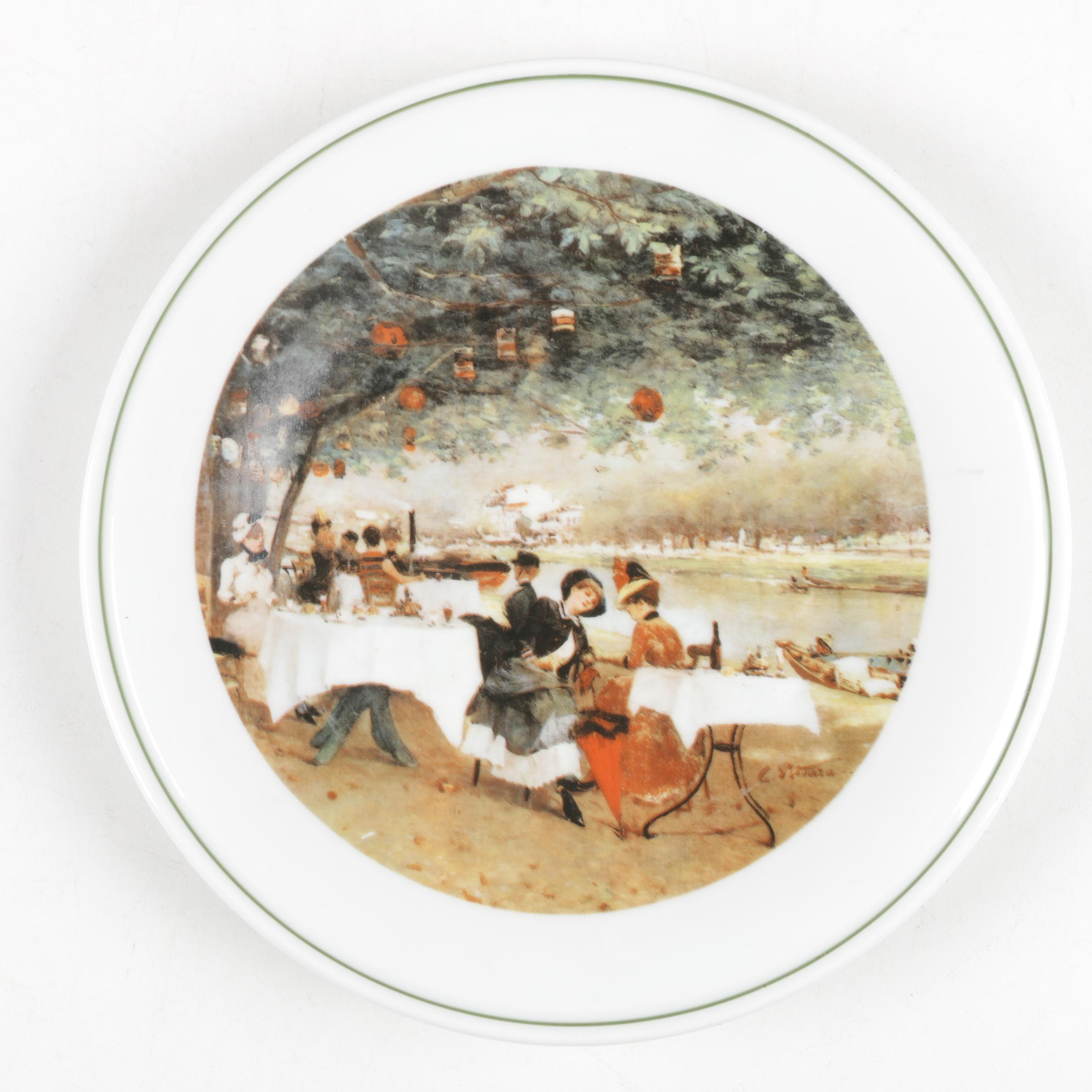 "Richard Ginori Plate after ""On The Banks of the Seine"" by Carlo Pittara"