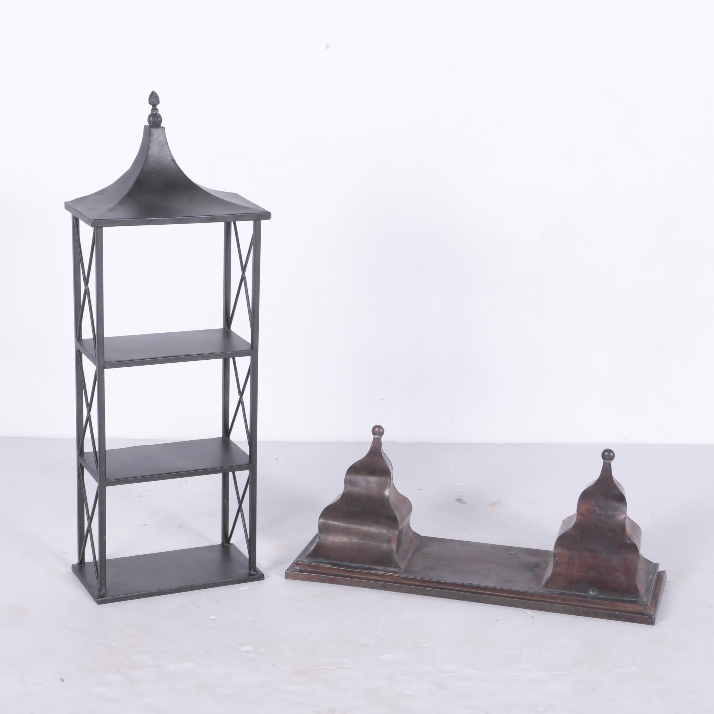 Decorative Metal Standing Shelf Unit and Hanging Shelf
