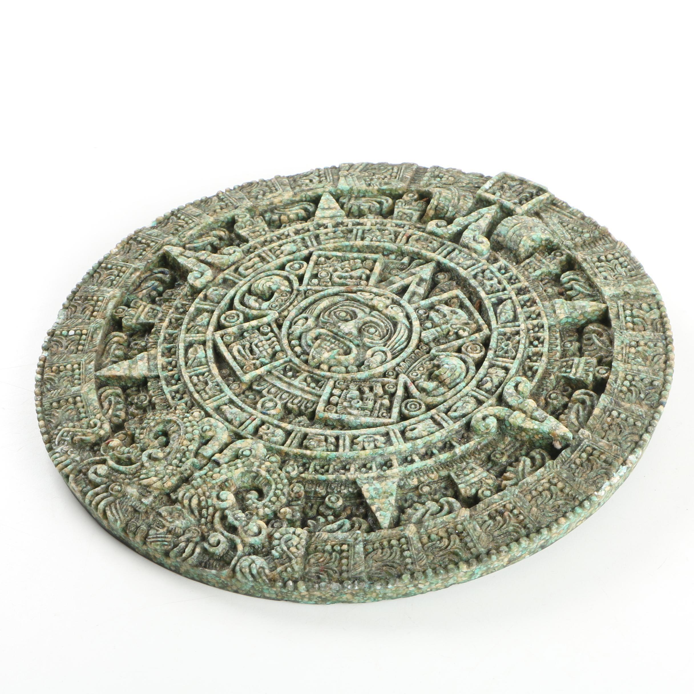 Aztec Inspired Sun Stone Replica Décor