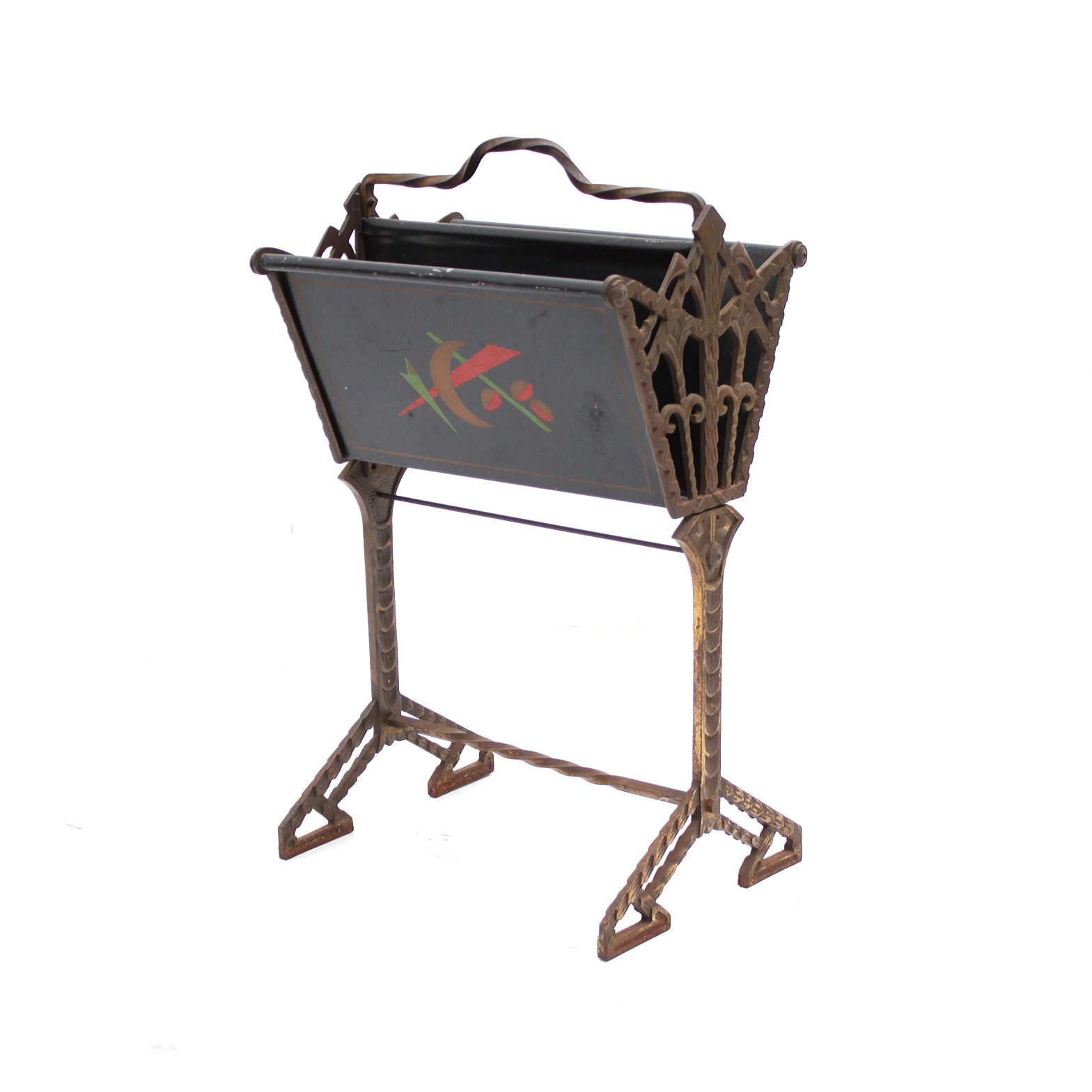 Early 20th-Century Art Deco Cast Iron and Painted Magazine Rack