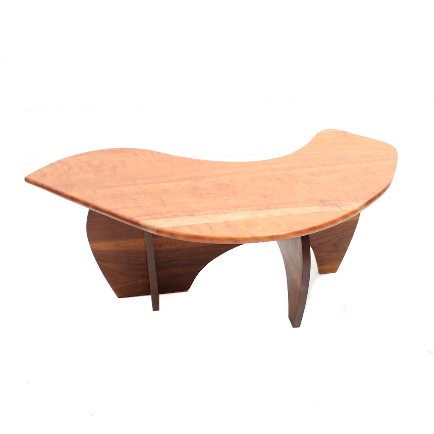 Mid century modern style biomorphic cherry and walnut for Modern cherry coffee table