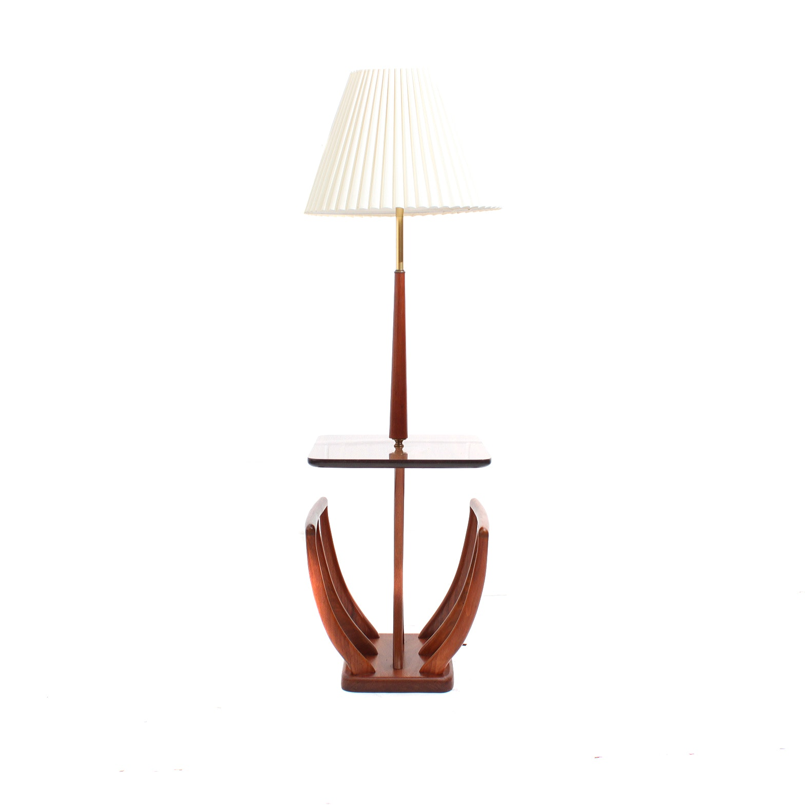 Mid Century Modern Teak Combination End Table and Floor Lamp with Magazine Rack