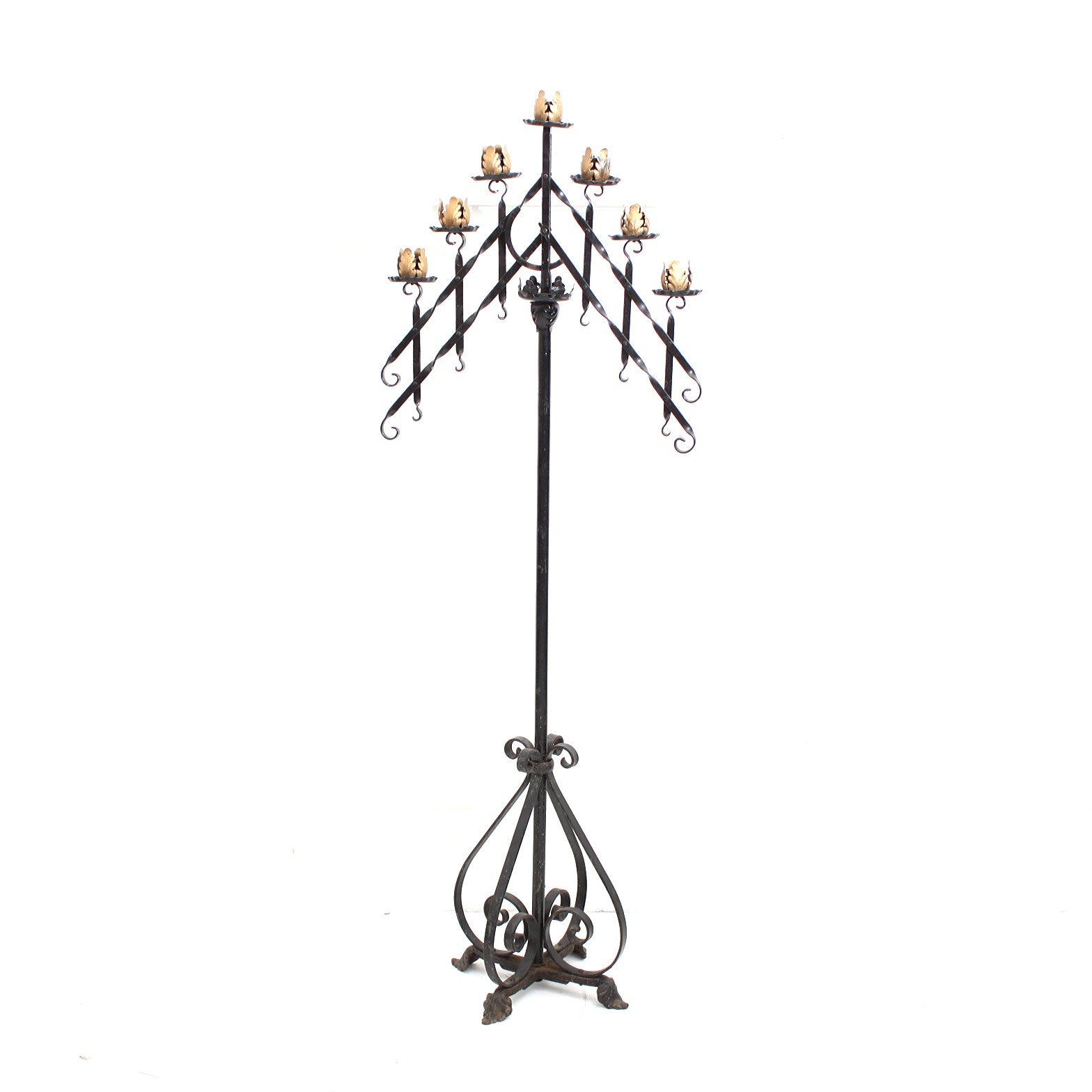 Vintage Wrought Iron Gothic Style Altar Candle Holder