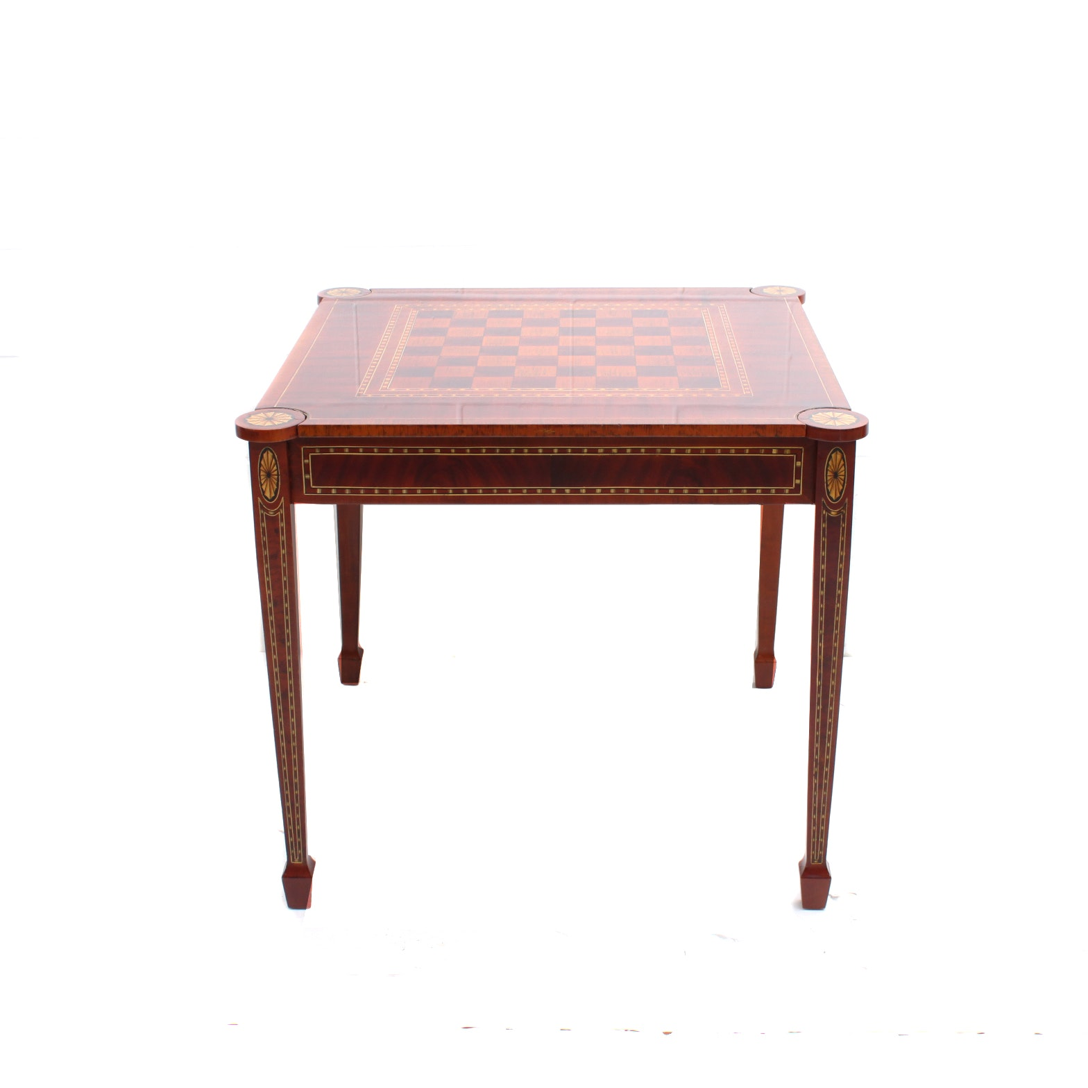 Vintage Hepplewhite Style Checkerboard Mahogany Flip Top Game Table