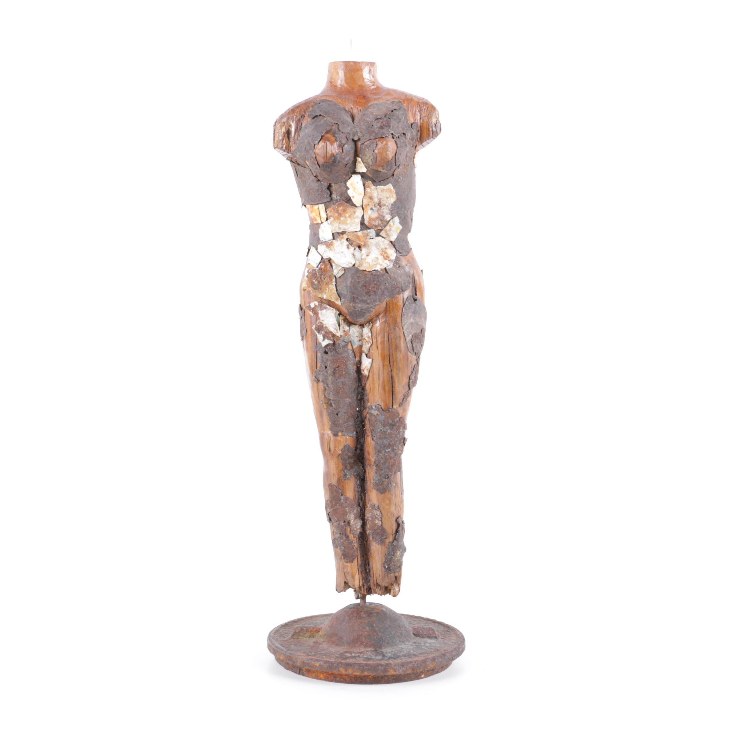 Duke Rood Wood and Metal Sculpture of Female Figure
