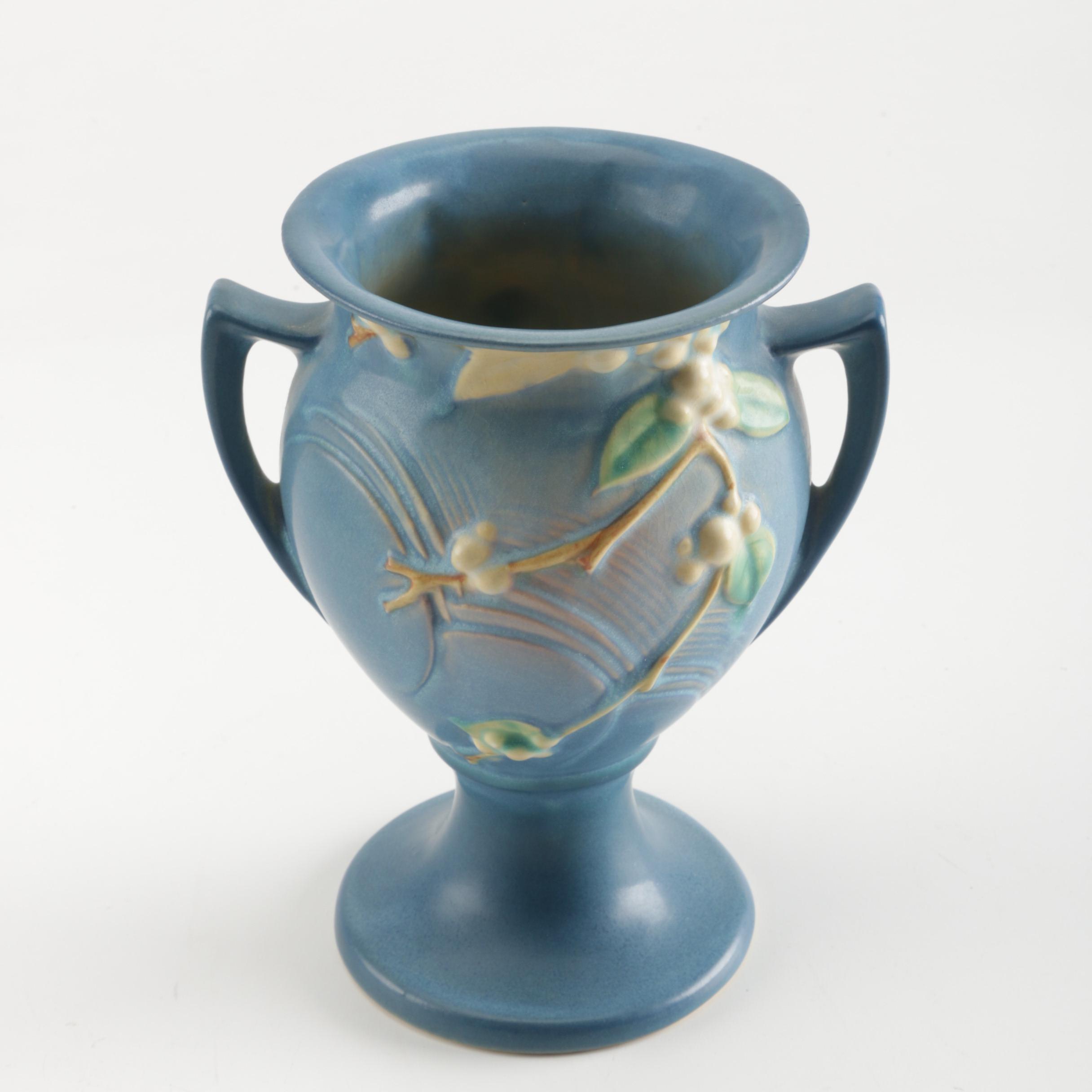 """Roseville """"Snowberry"""" Blue Urn Vase"""