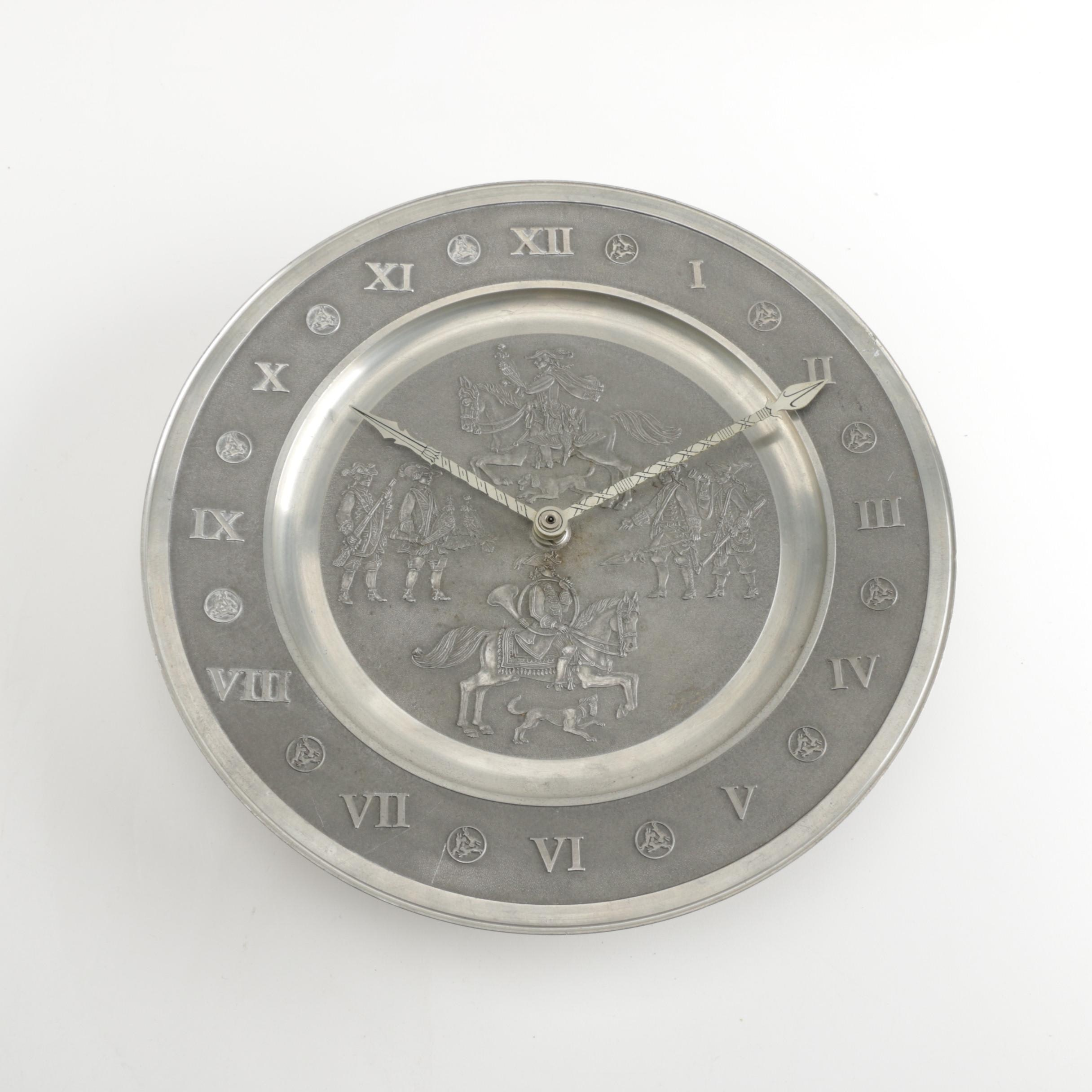 Roders Zinn Pewter Plate Wall Clock