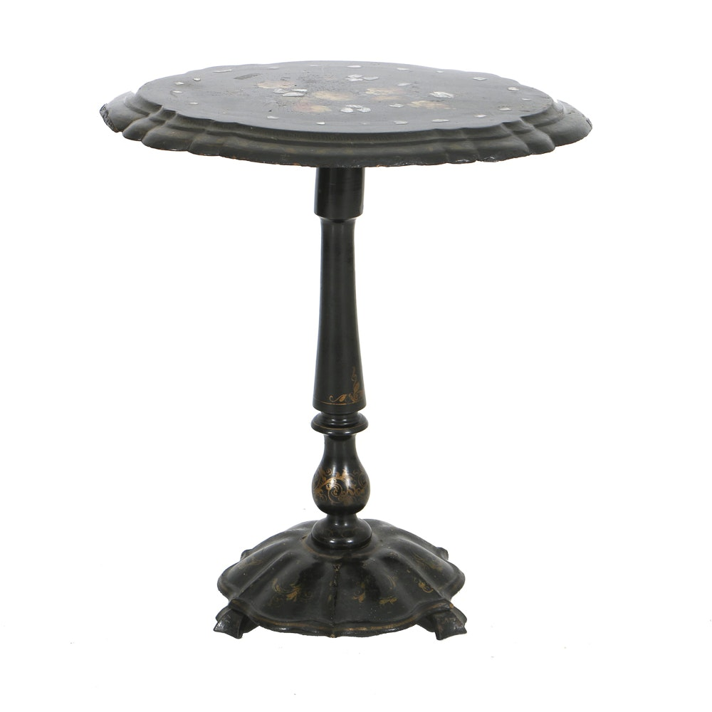 Antique Victorian Black Lacquer and Papier-Mache Tilt-Top Side Table with Inlay