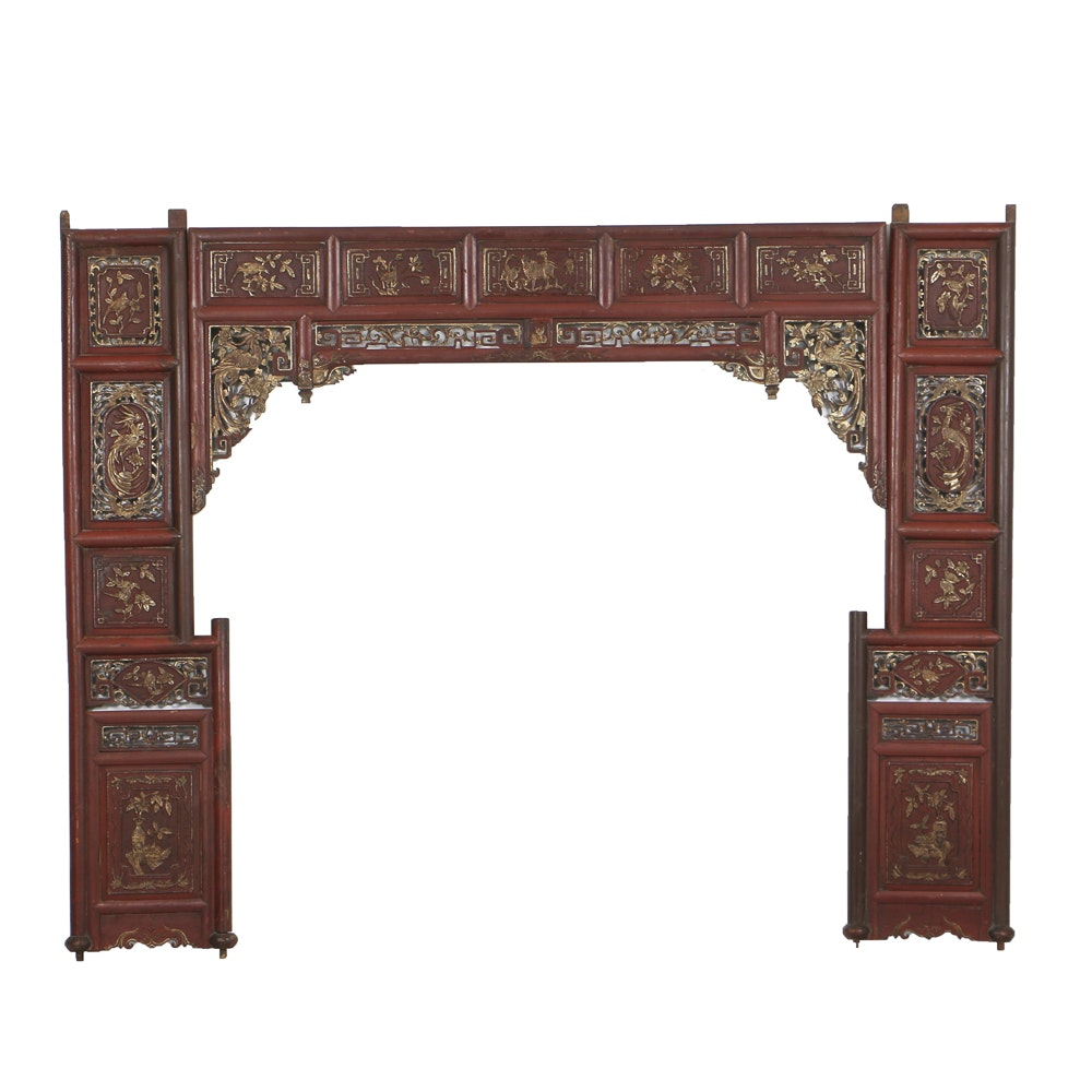 Antique Chinese Three-Piece Architectural Door Surround, Circa 19th Century