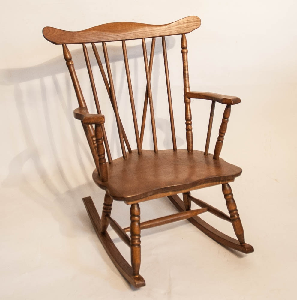 Early Century Childs Spindle Frame Wood Rocker