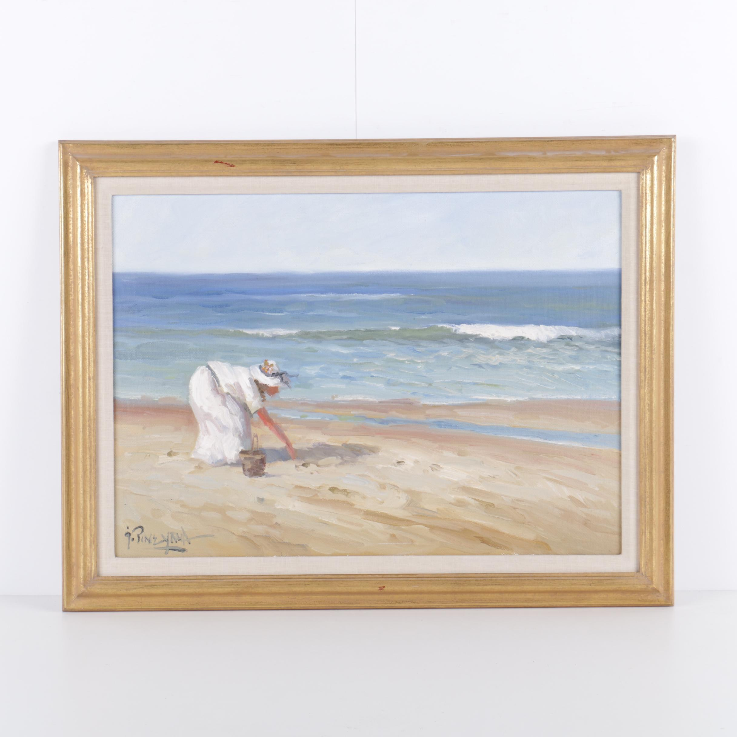 Jorge Pineyrua Acrylic Painting on Canvas of Woman on Beach