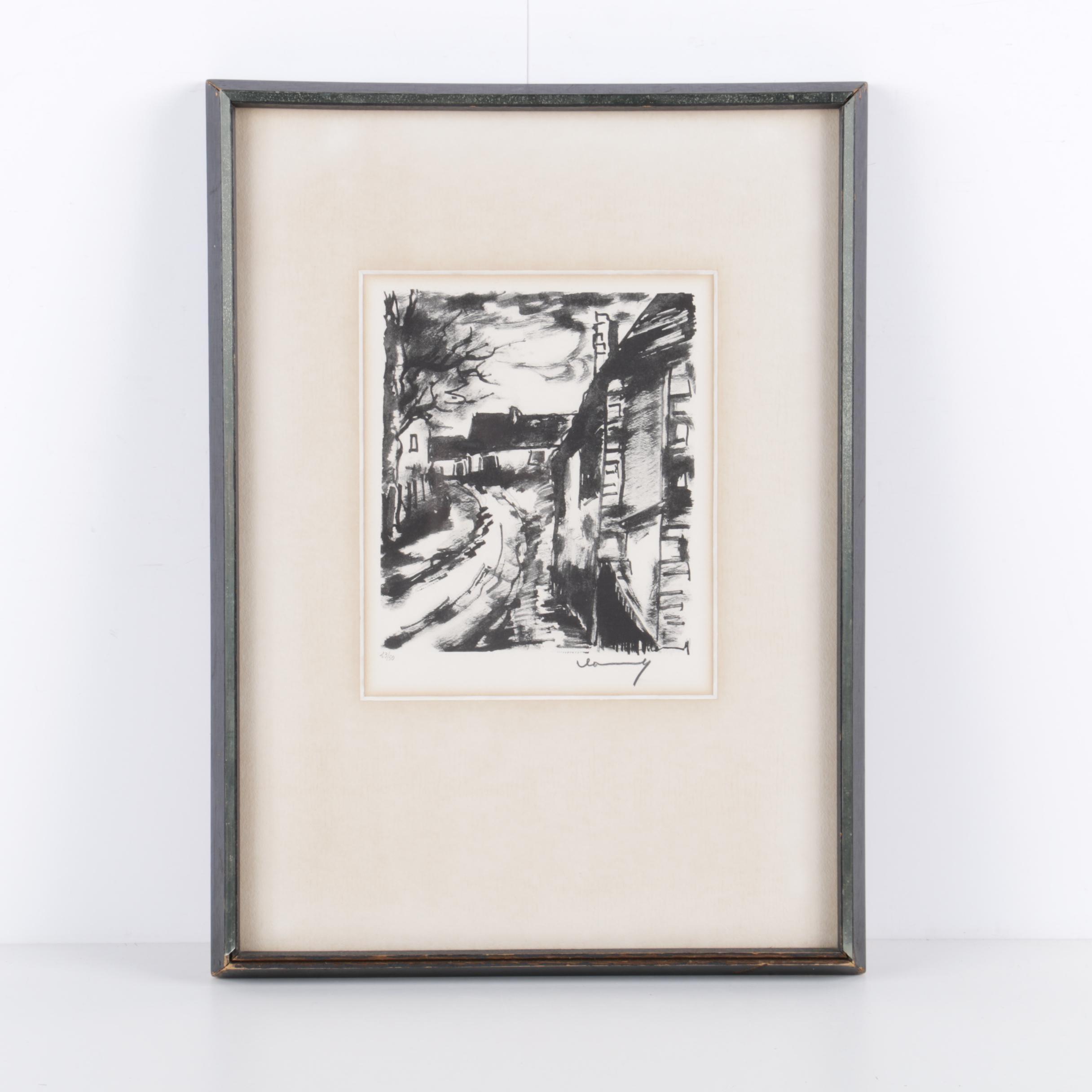 """Limited Edition Halftone Print After Maurice de Vlaminck """"Entrée de Village"""""""