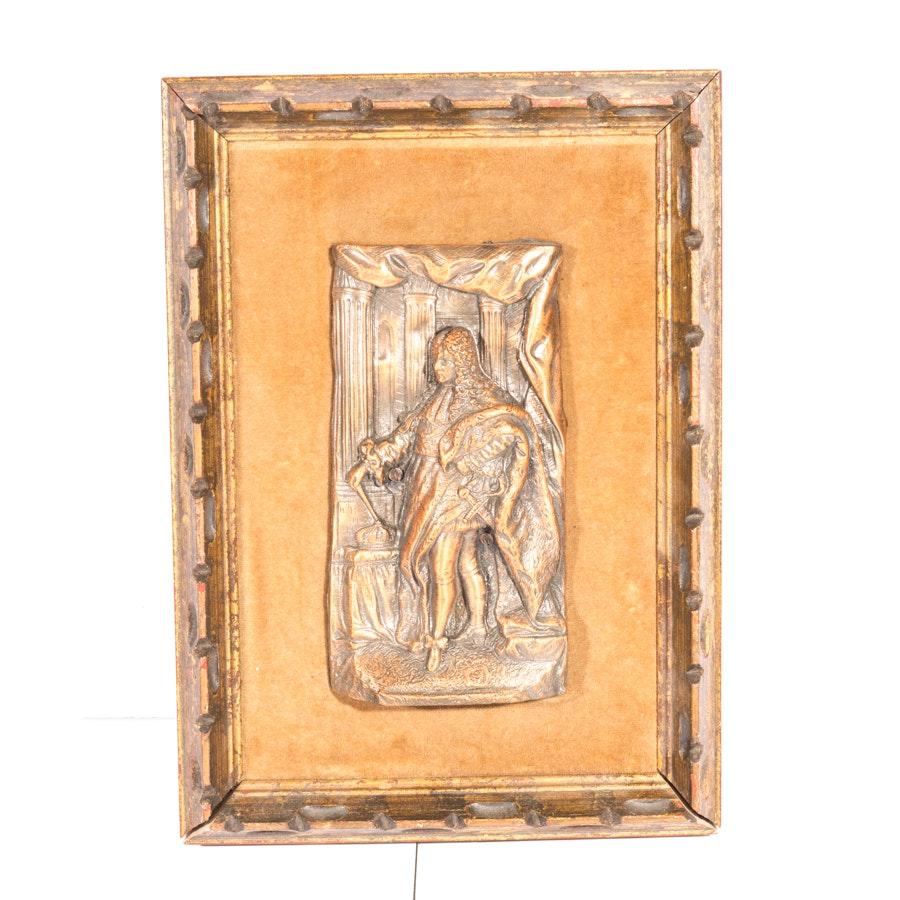 Metal High Relief Sculpture of Louis XIV