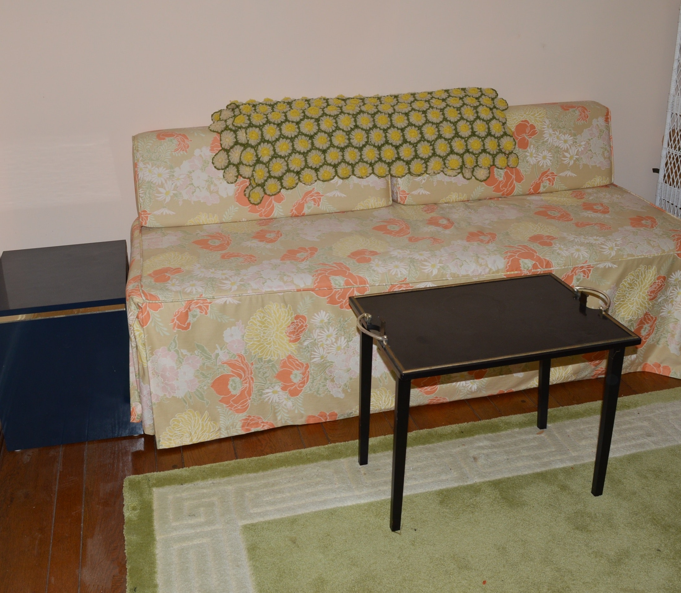 Custom Upholstered Daybed and Two Tables