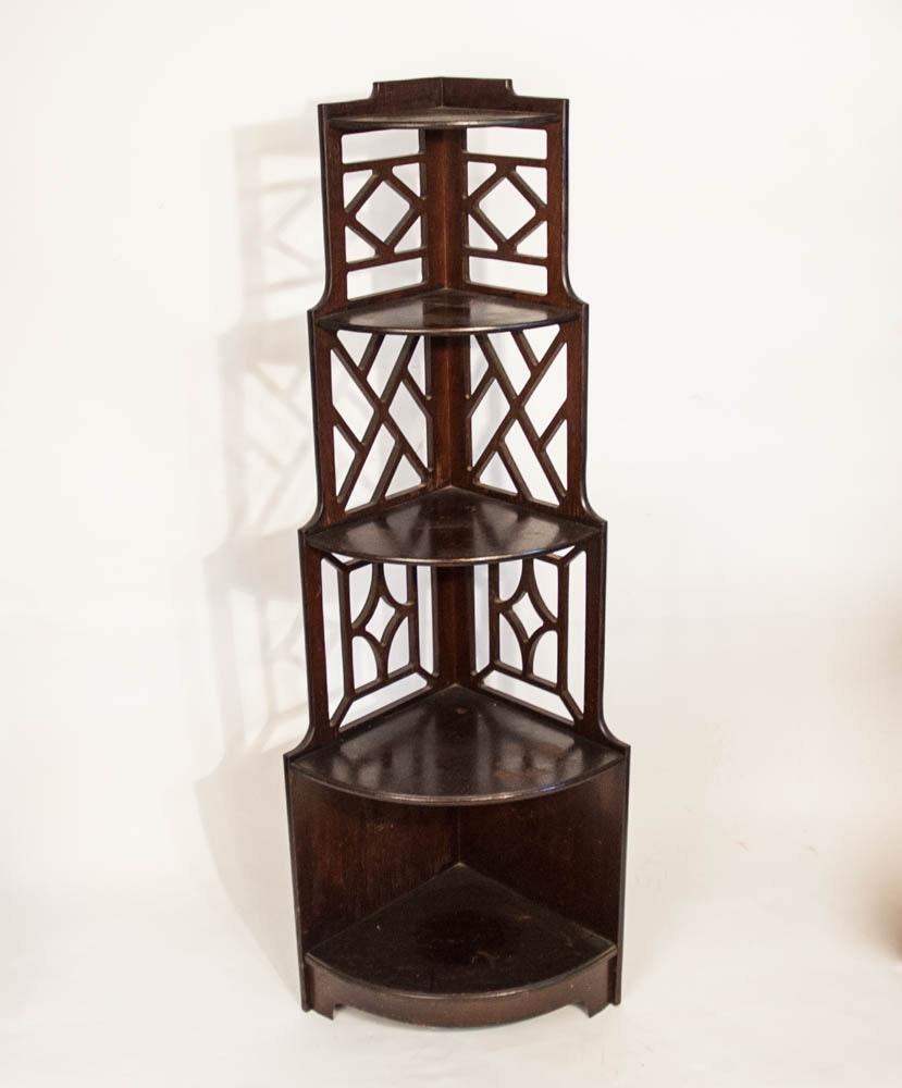 Asian Inspired Vintage Corner Etagere