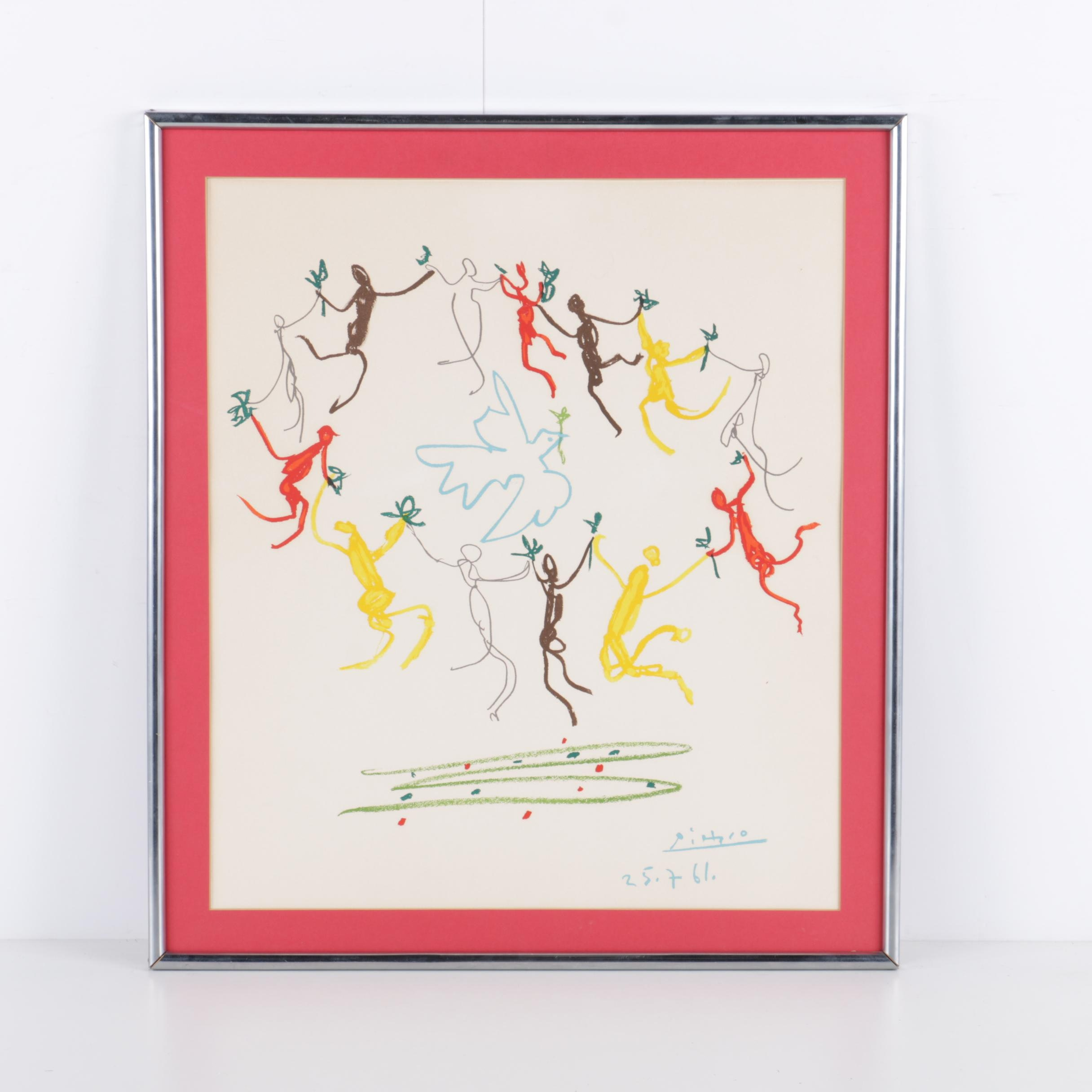 """After Picasso Color Lithograph """"The Dance of Youth"""""""