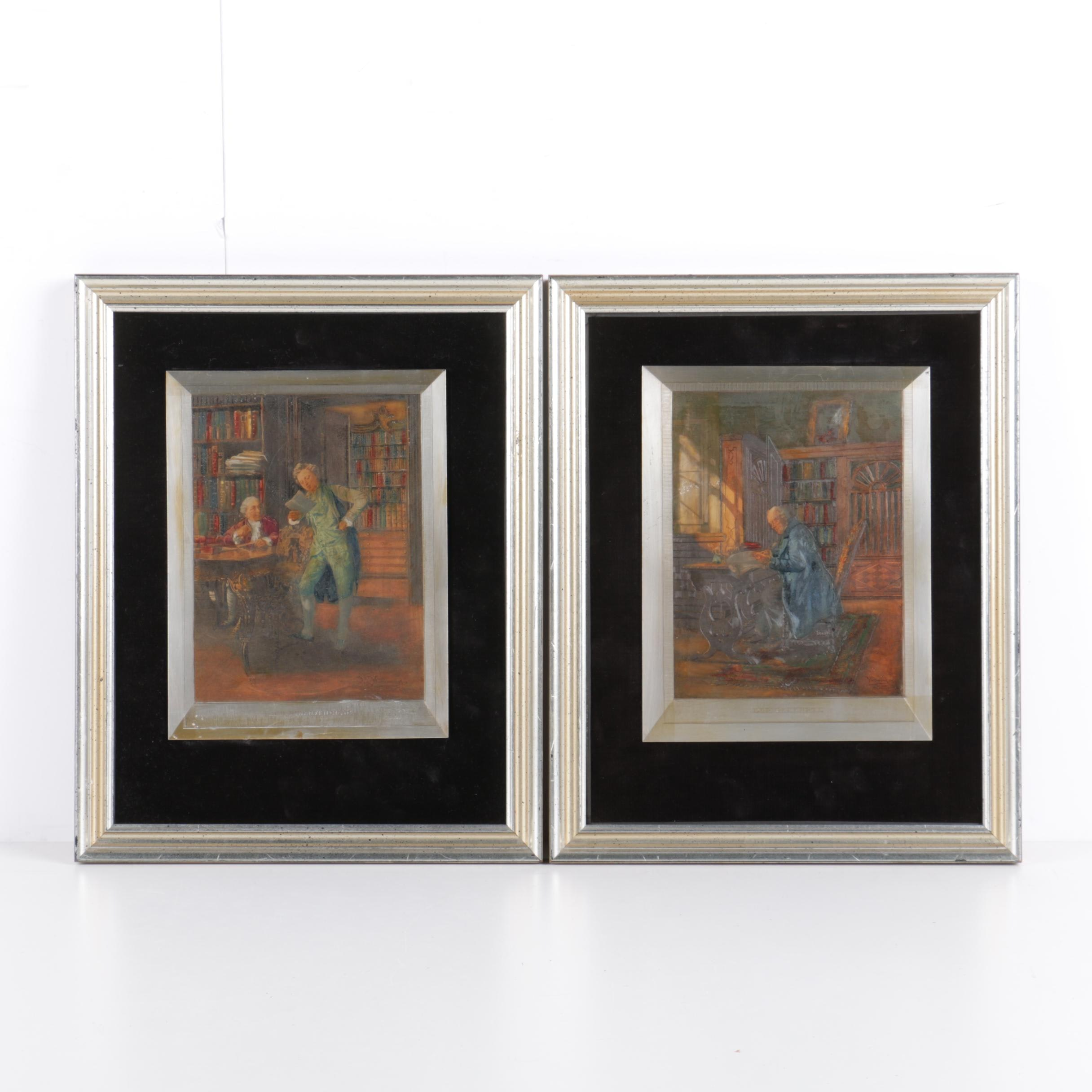 Two Debossed Metal Plaques after Johann Hamza Paintings