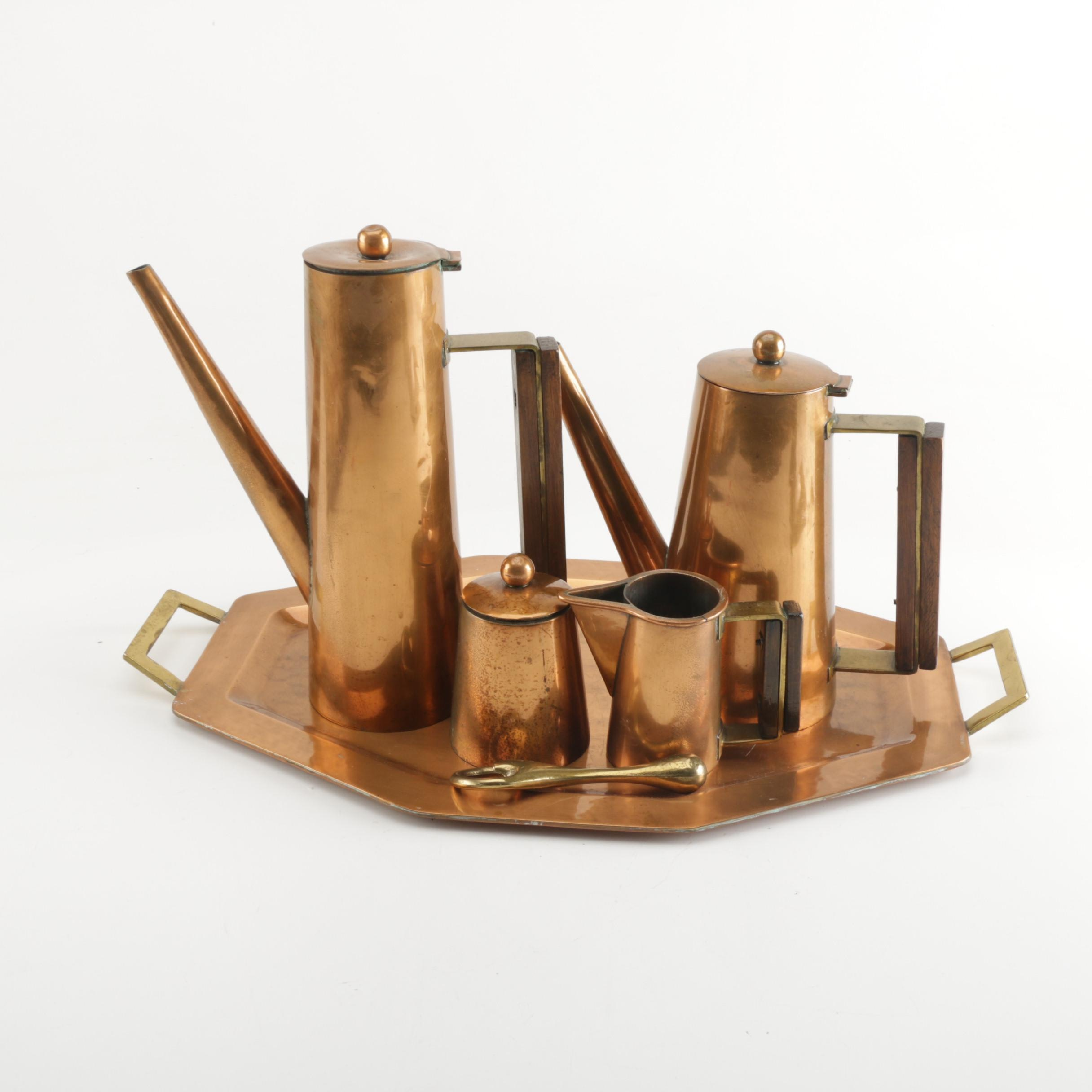 Mid Century Modern Copper, Brass and Wood Tea and Coffee Service