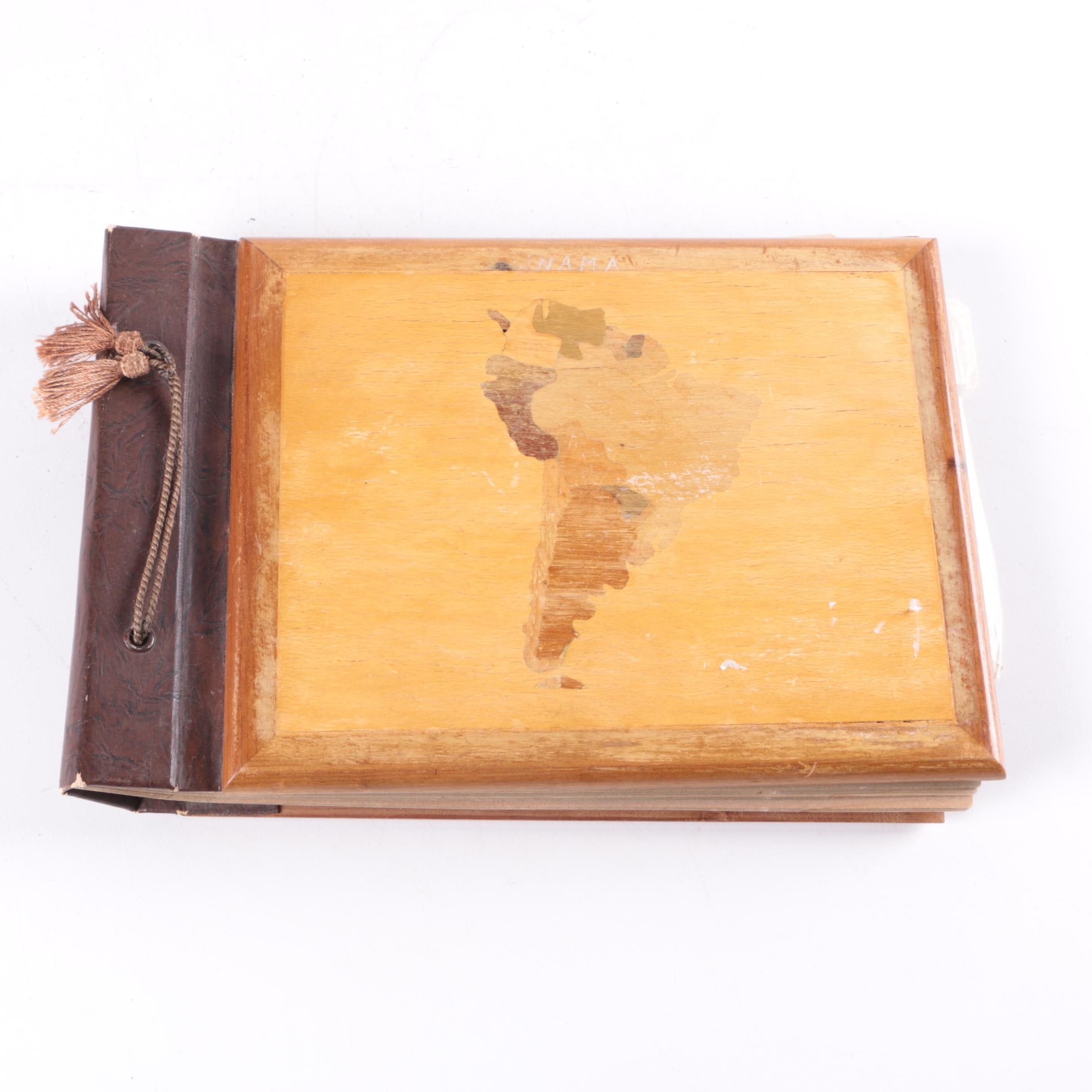 Vintage Photos In Wooden Album From Central America