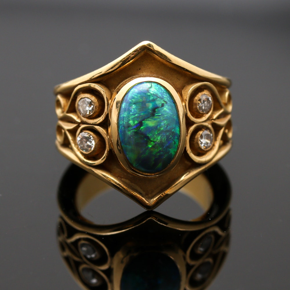 18K Yellow Gold Black Opal and Diamond Ring