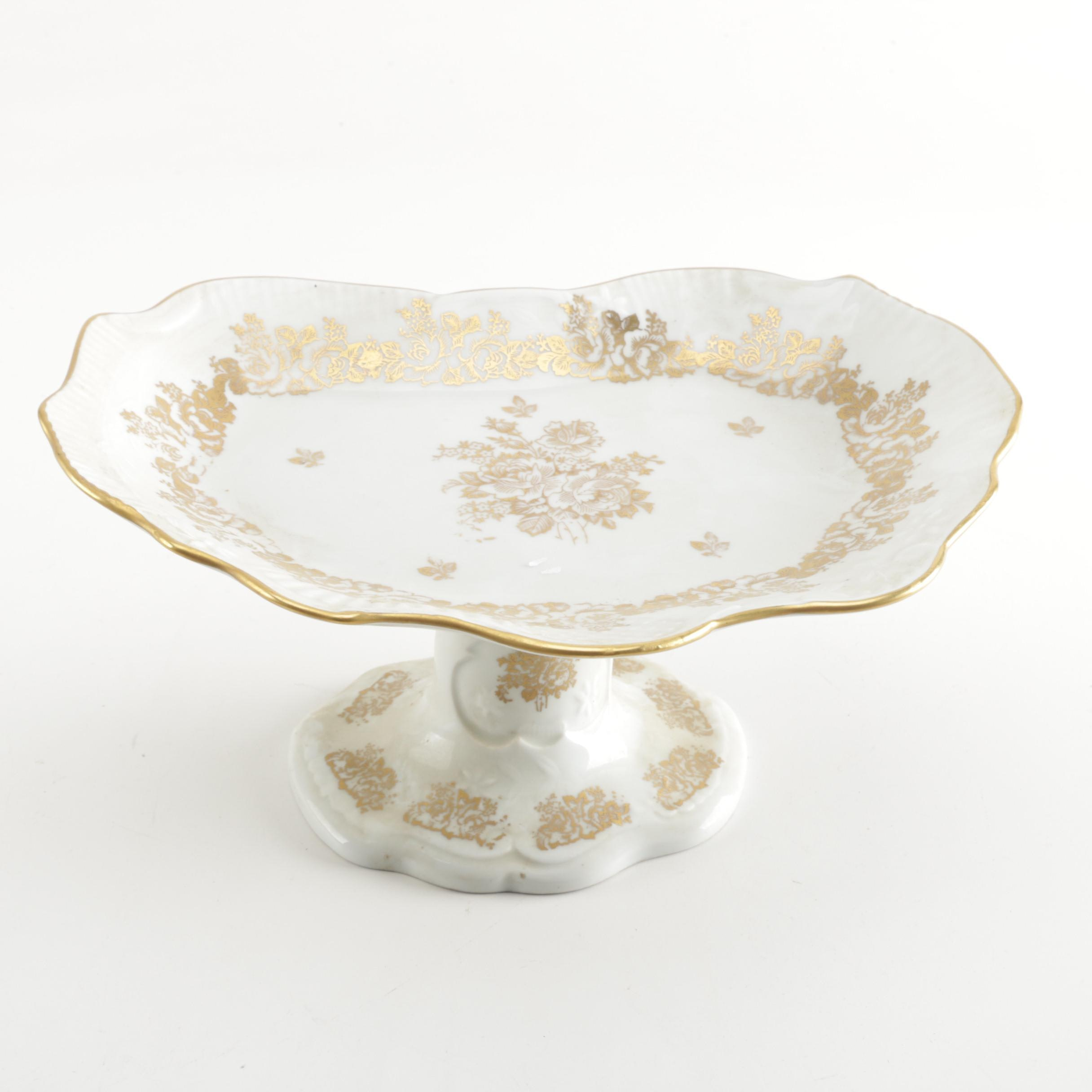Vintage Hand-Painted Porcelain Dish with Gold-Tone Roses