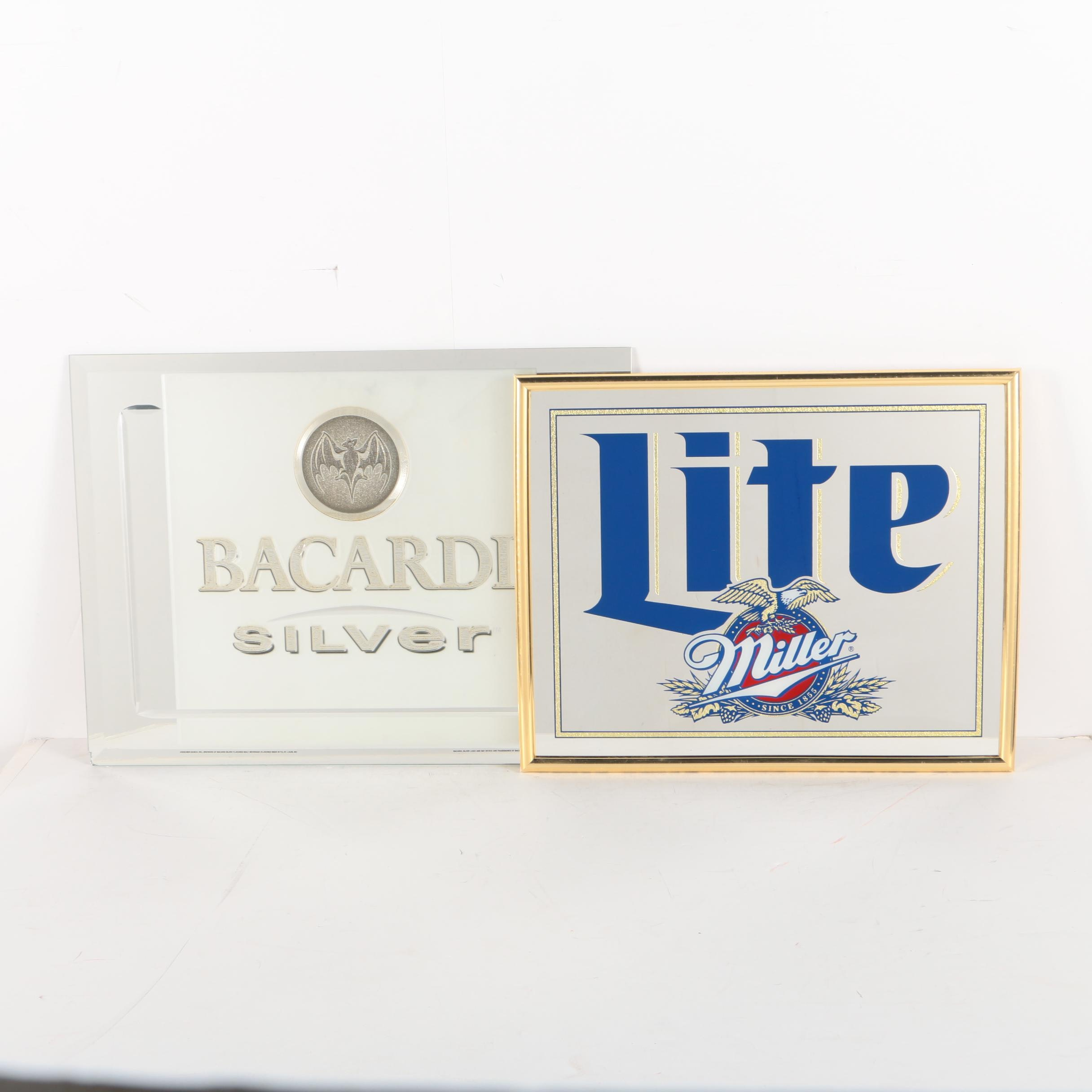 Bacardi Silver and Miller Lite Mirrored Signs