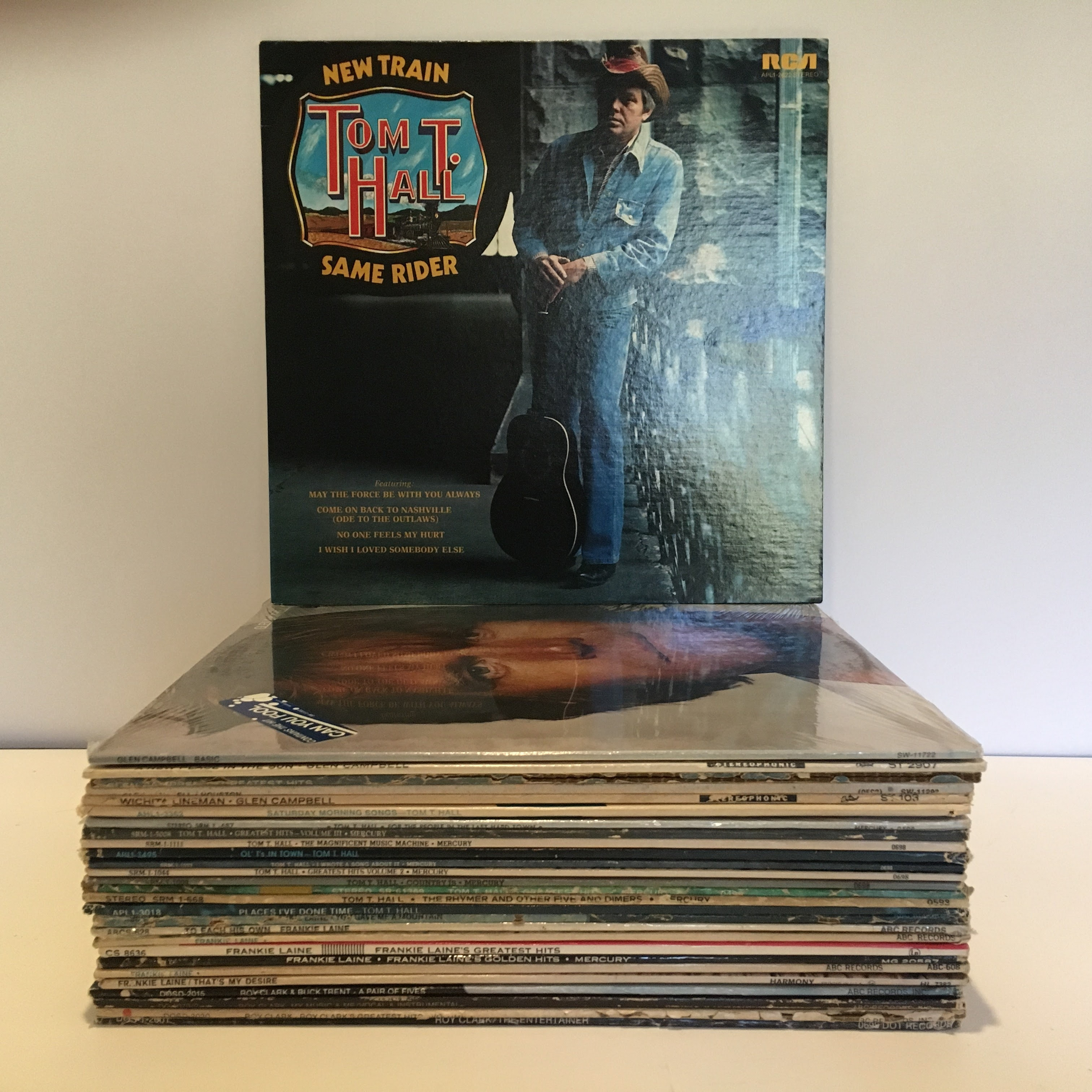 Over 25 Country LPs from Glen Campbell, Tom T. Hall, Frankie Laine and Roy Clark