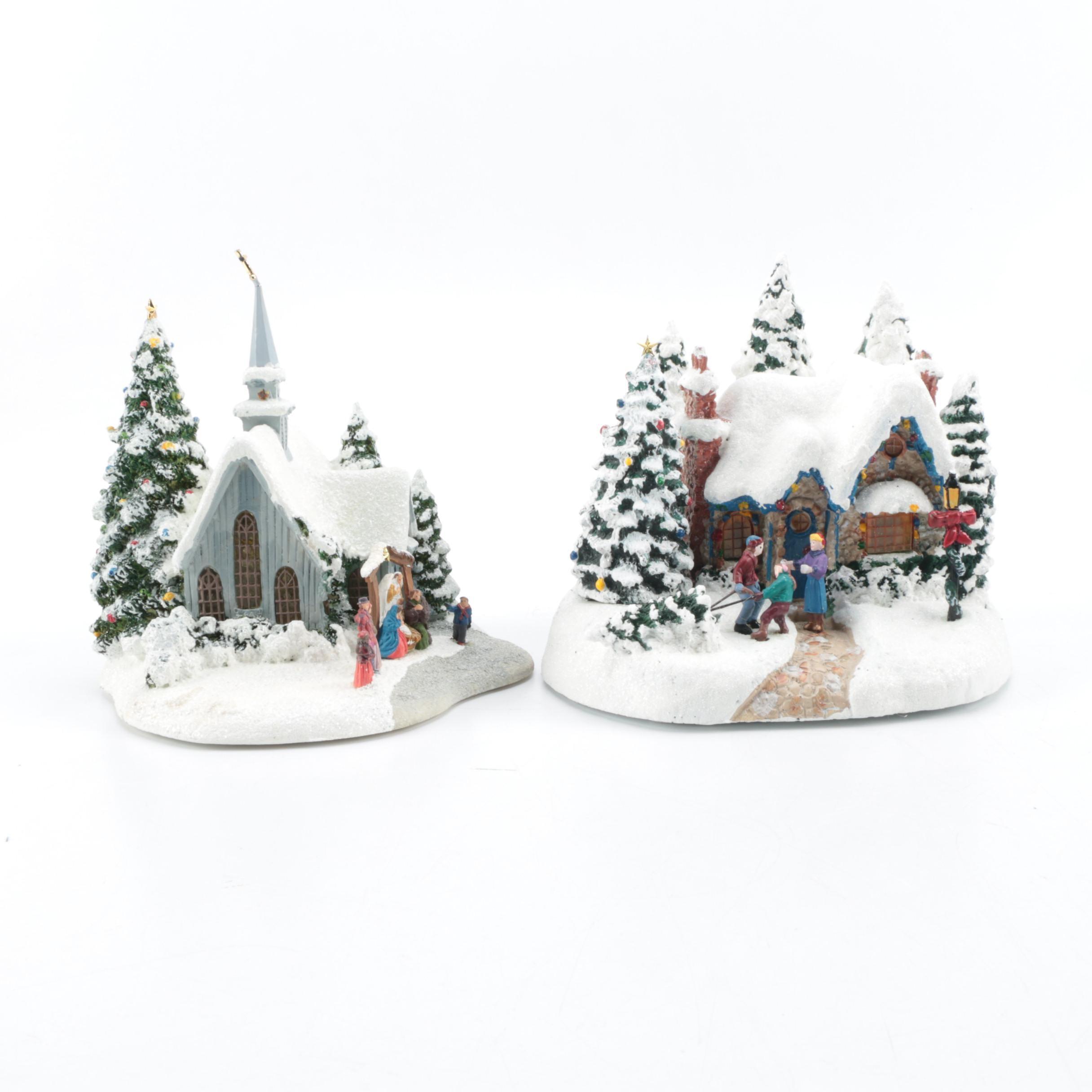 Pair of Christmas Building Figurines