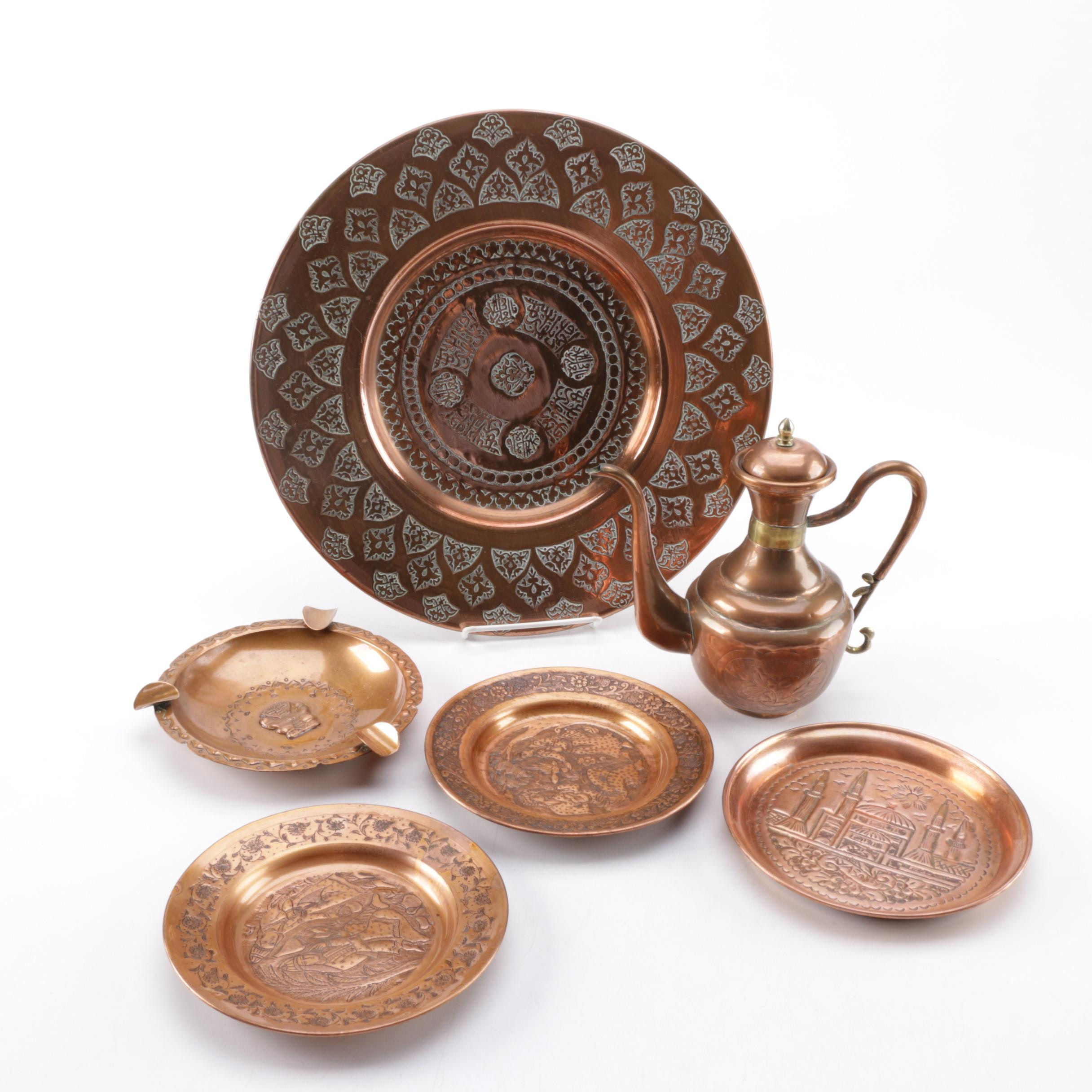 Collection of Decorative Copper Plates, Ashtray, and Ewer