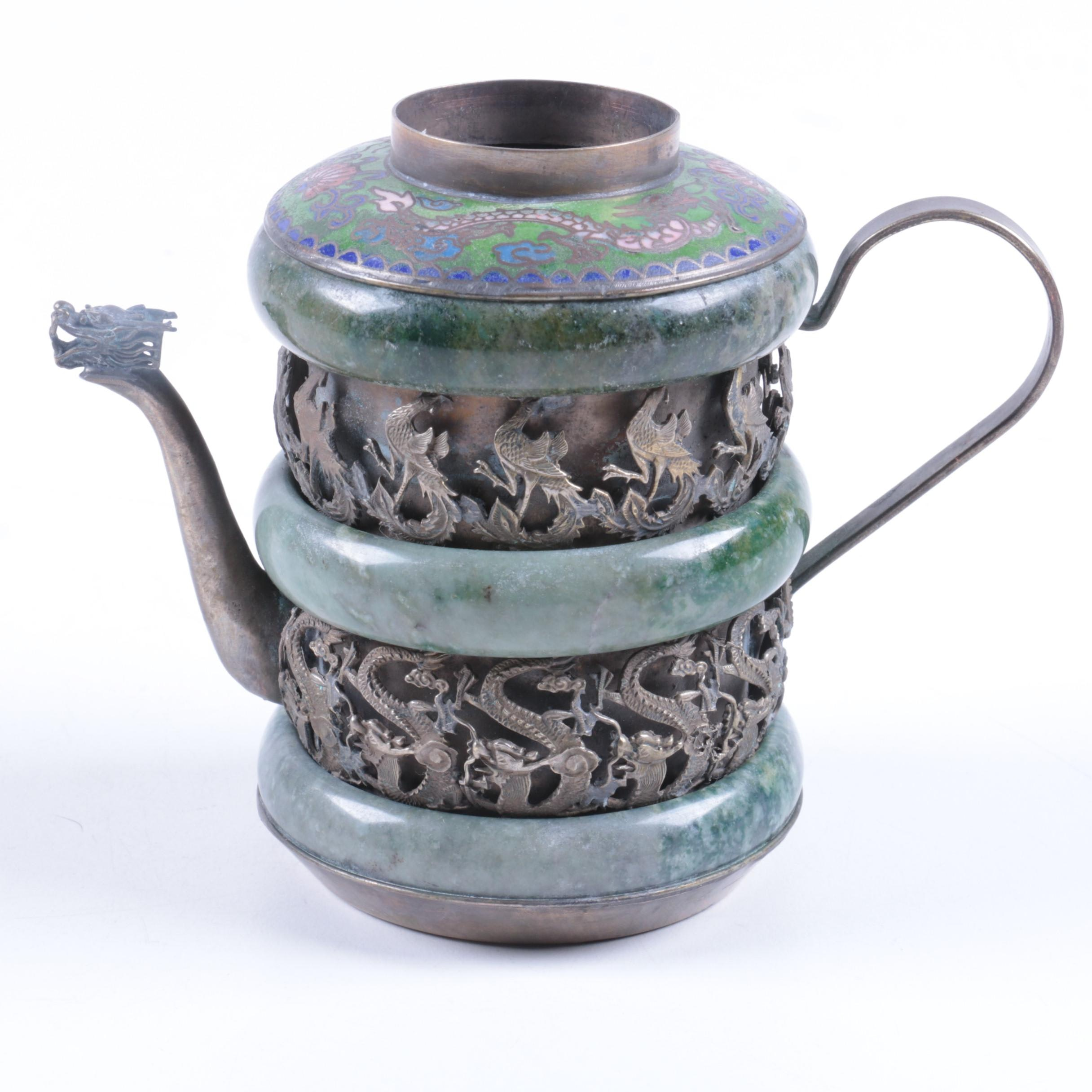 Metal Pitcher with Serpentine Bands