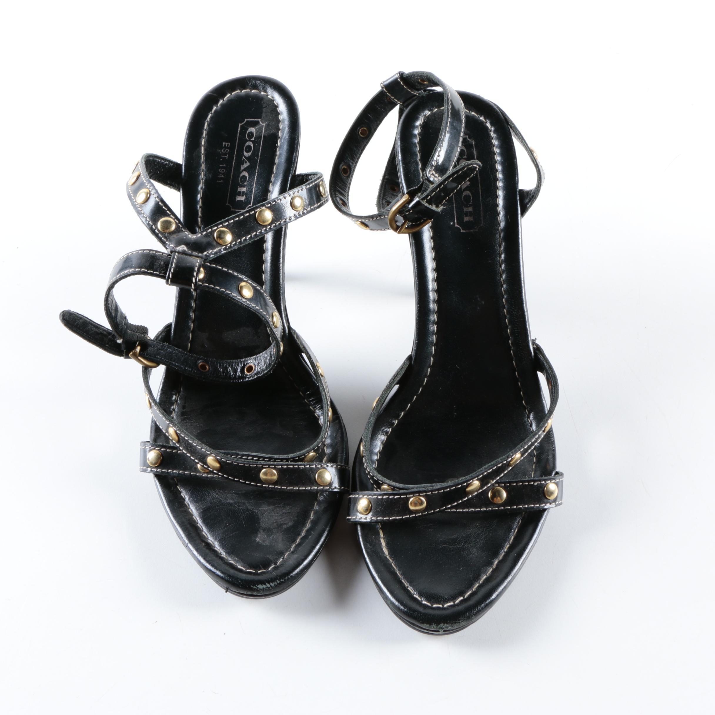 Coach Nadine Black Leather Sandals