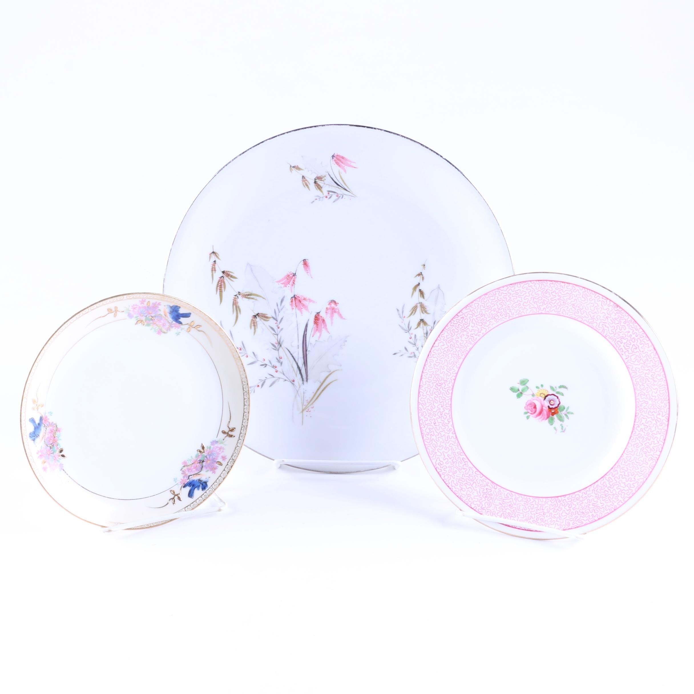 Decorative Porcelain Plates Including Vintage Crown Staffordshire