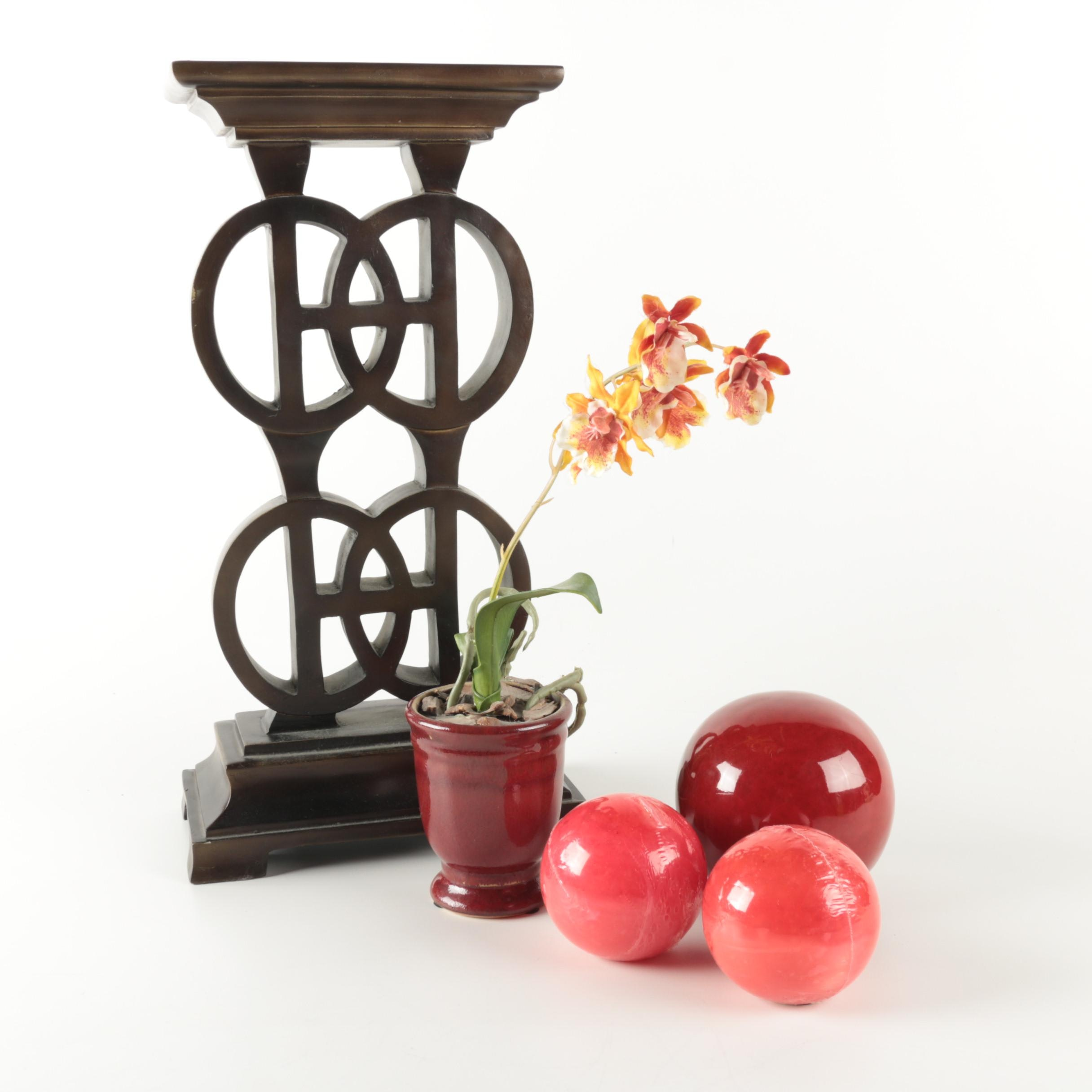 Metal Sculpture, Faux Potted Plant, and Assorted Home Decor