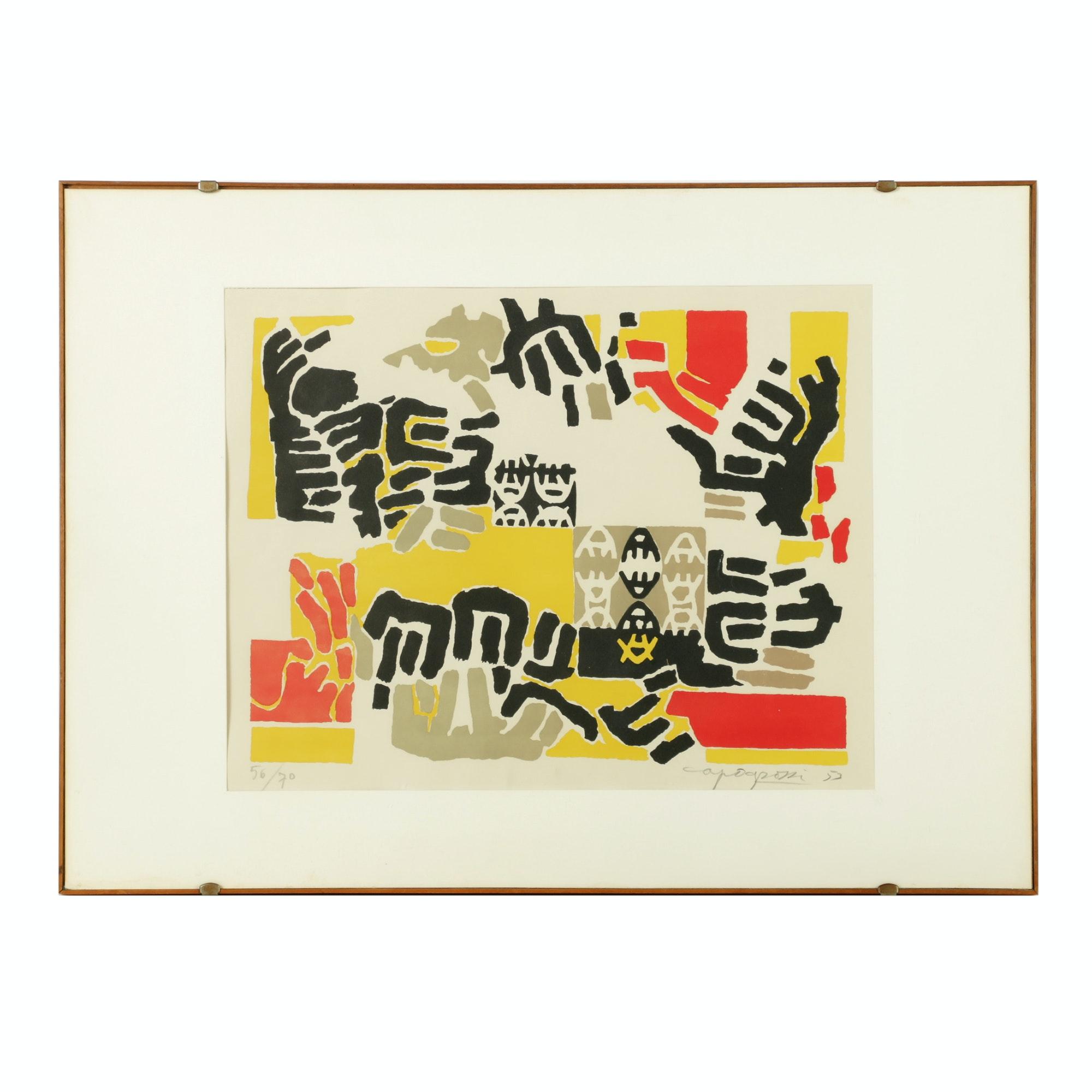 "Giuseppe Capogrossi Limited Edition Color Lithograph ""Senza Titolo"""