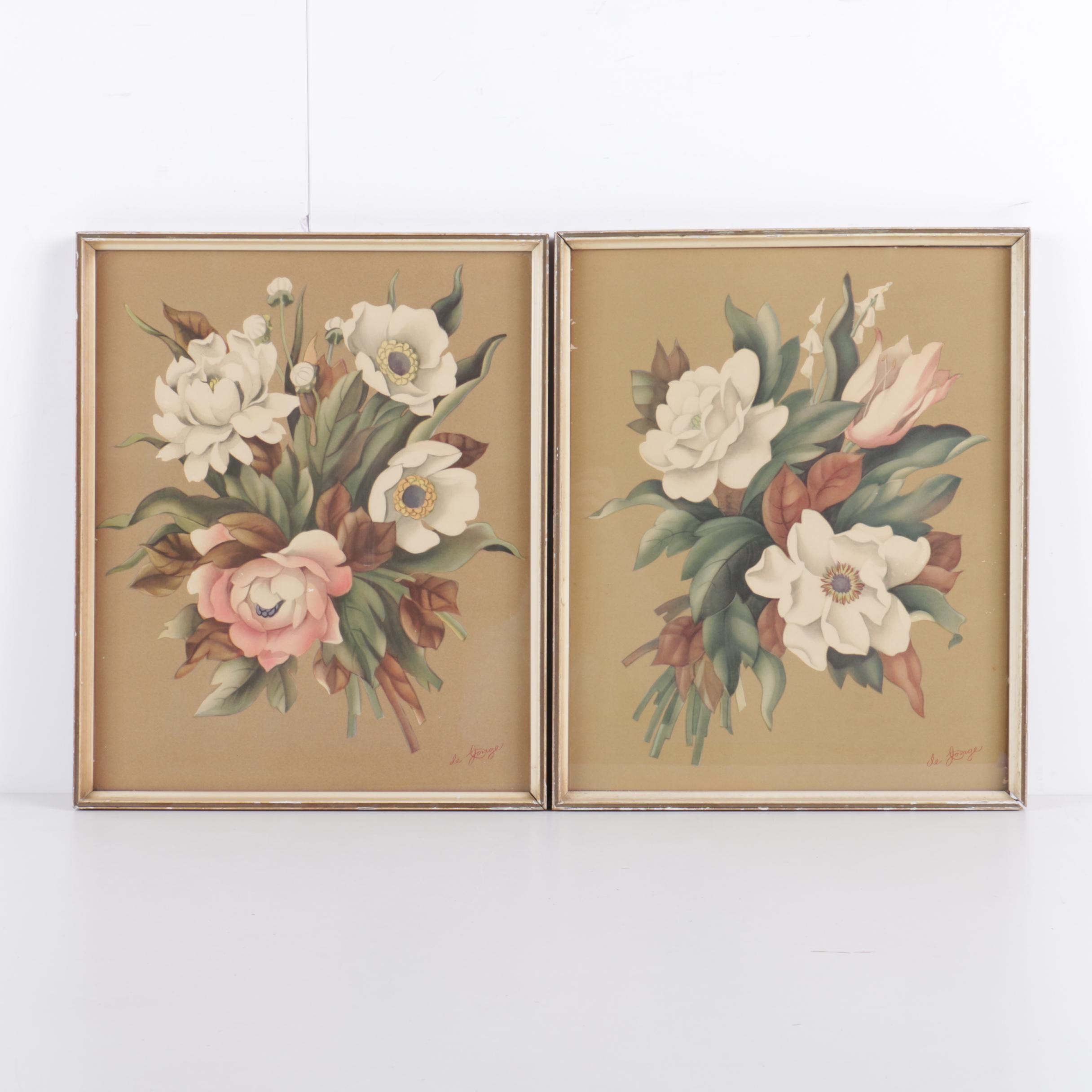 Sandford de Jonge Offset Lithograph Prints of Flowers