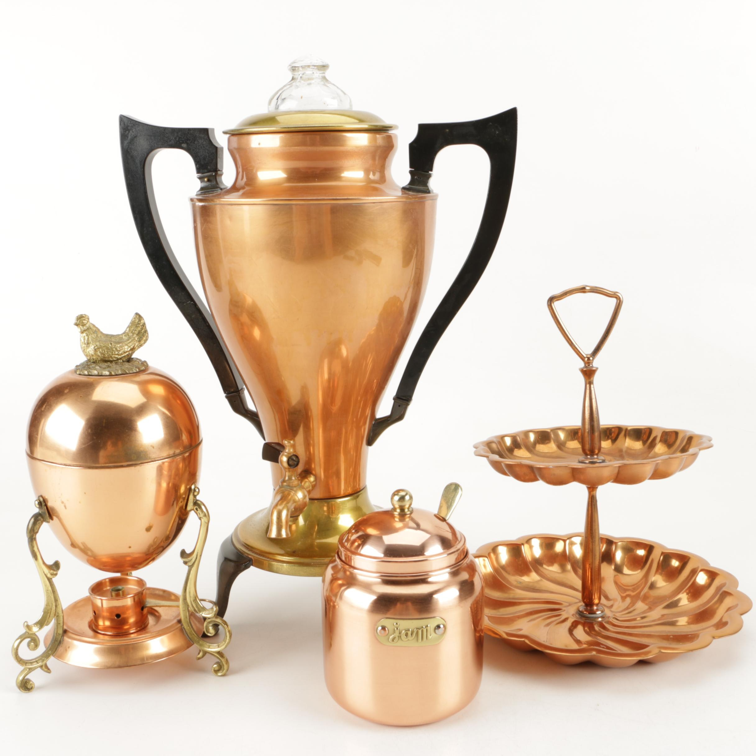 Art Deco Royal Rochester Percolater with Assorted Brass and Copper Serveware