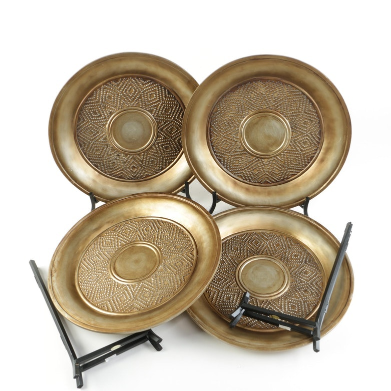 Gold Tone Decorative Charger Plates