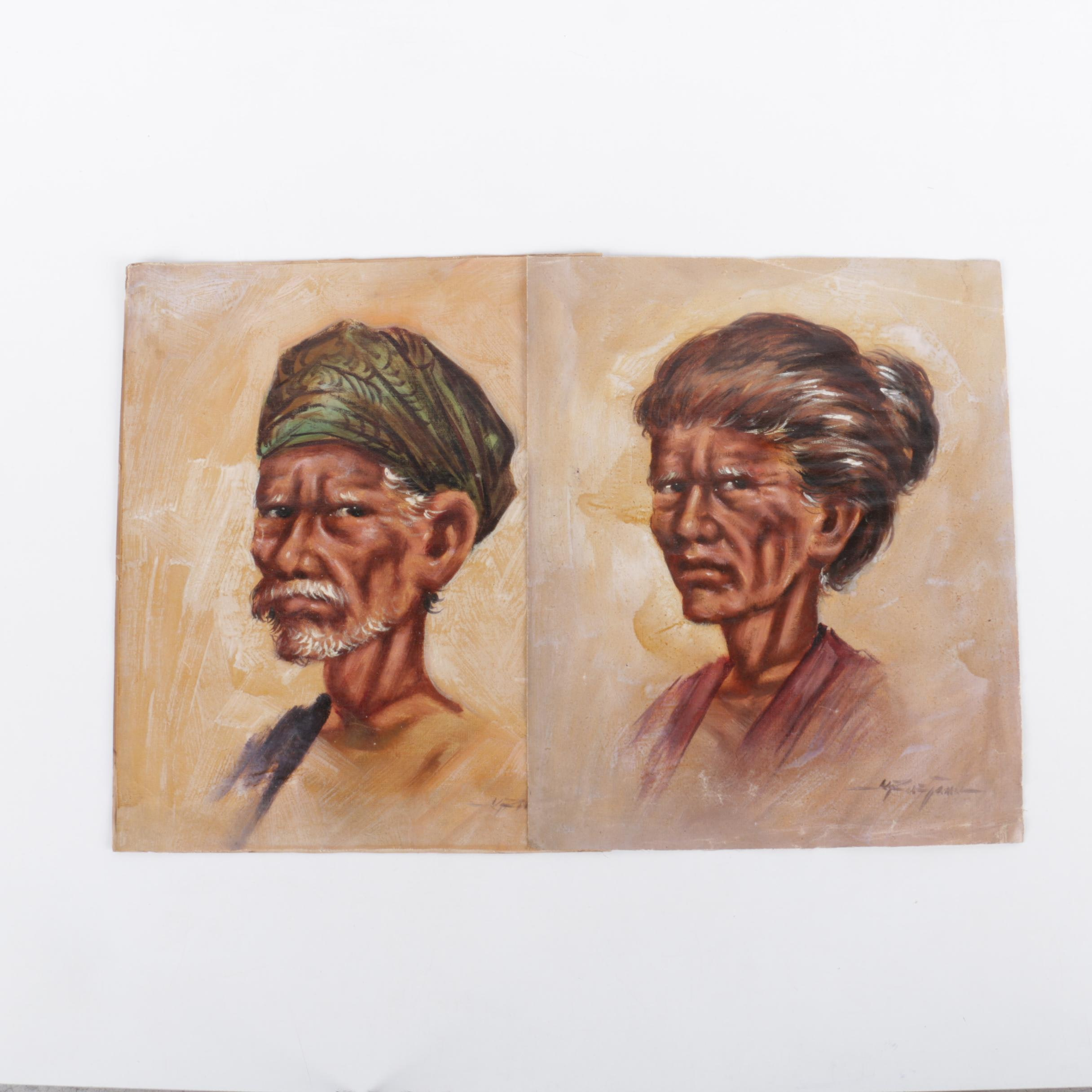 Oil Paintings on Canvas of an Older Man and Woman