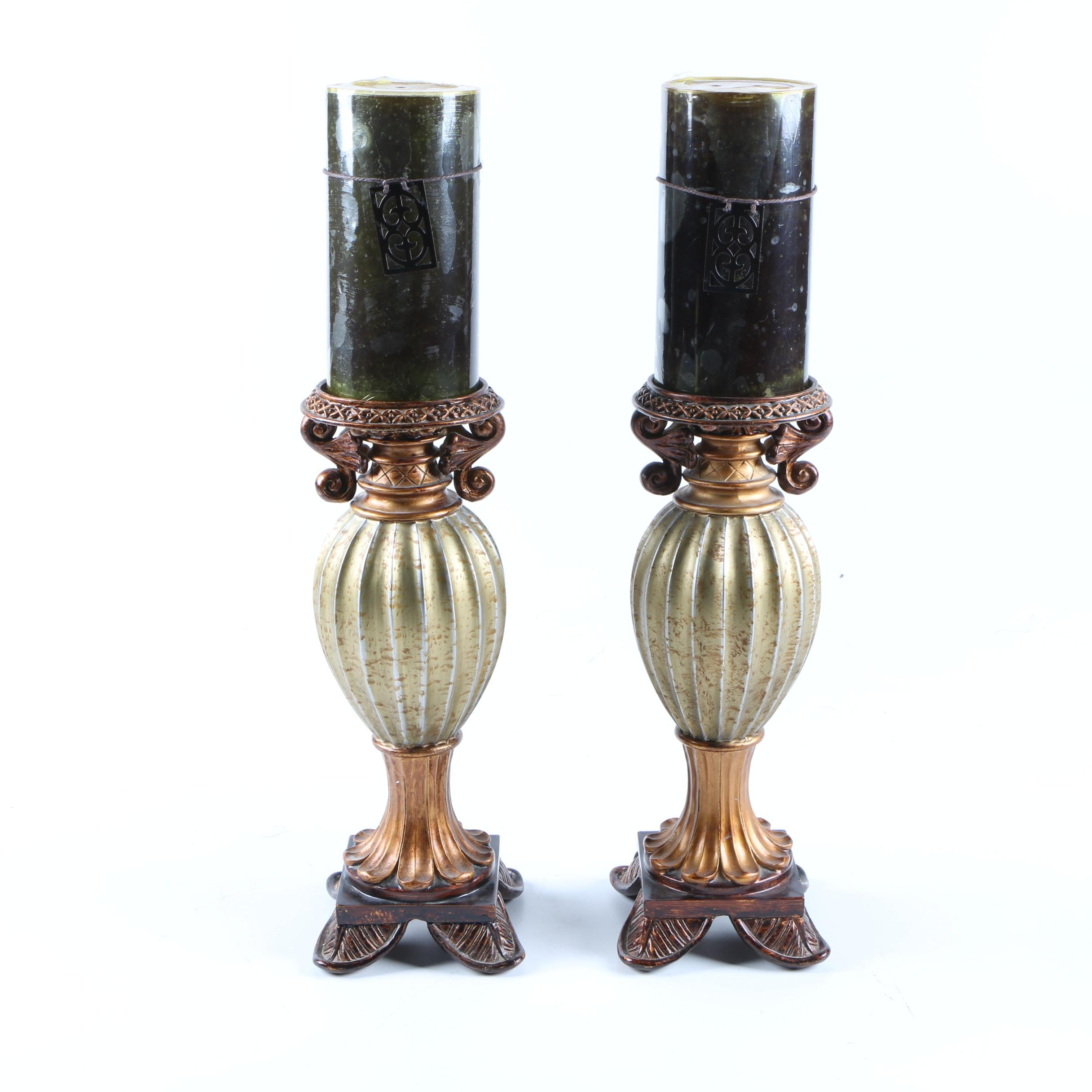 Two Candle Holders With Candles