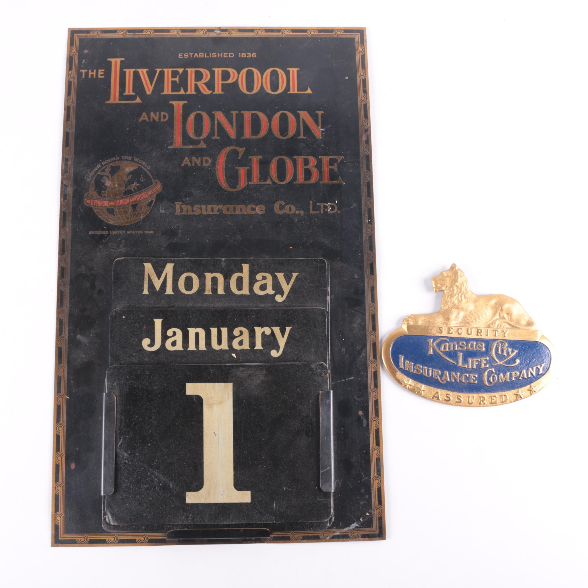 Vintage Advertising Metal Calendar and Plaque