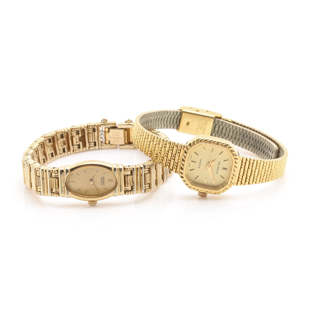 Selection of Helbros and Seiko Quartz Gold Tone and Stainless Steel Wristwatches